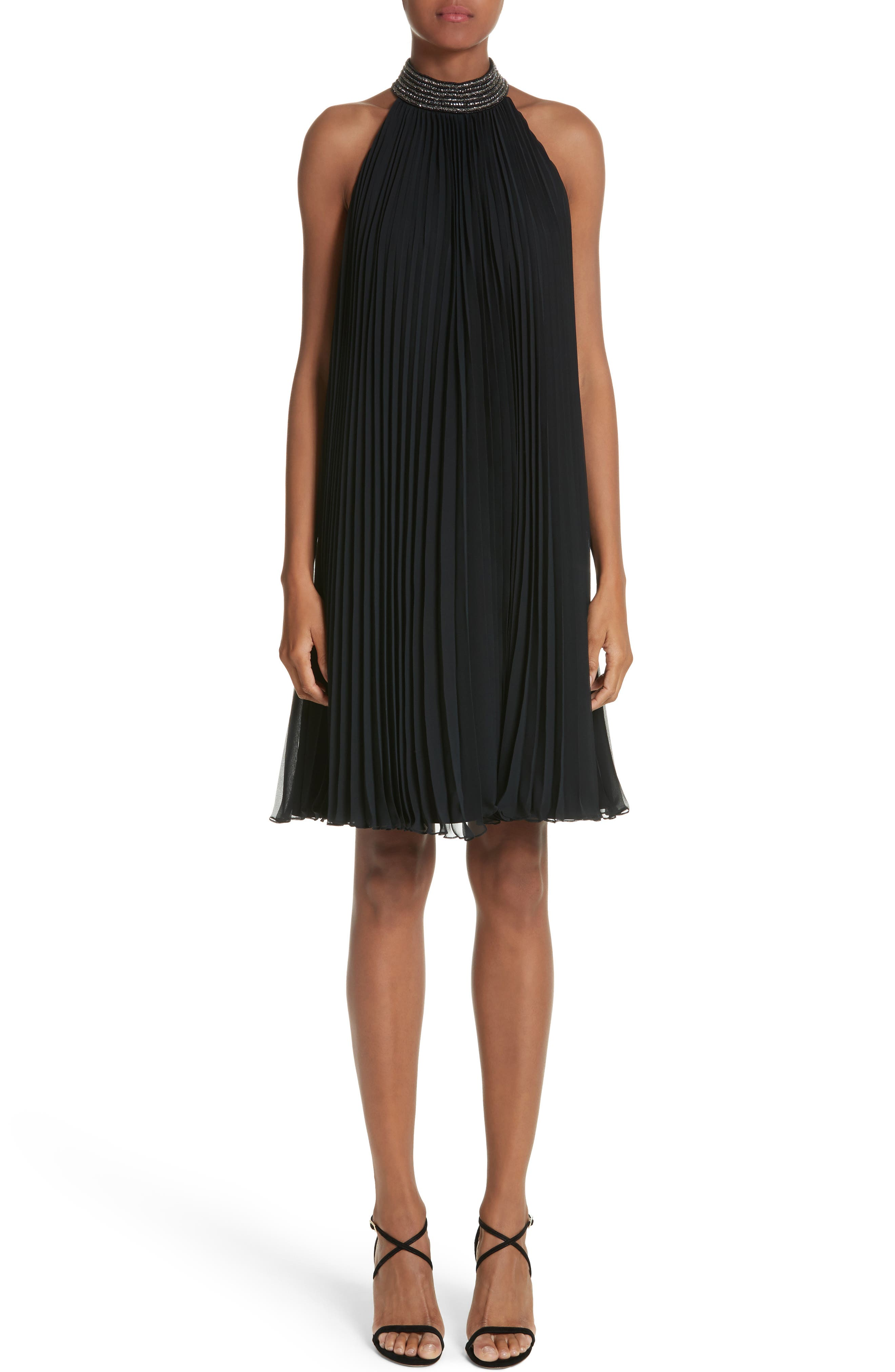 Carmen Marc Valvo Embellished Pleat Trapeze Dress,                         Main,                         color, Black