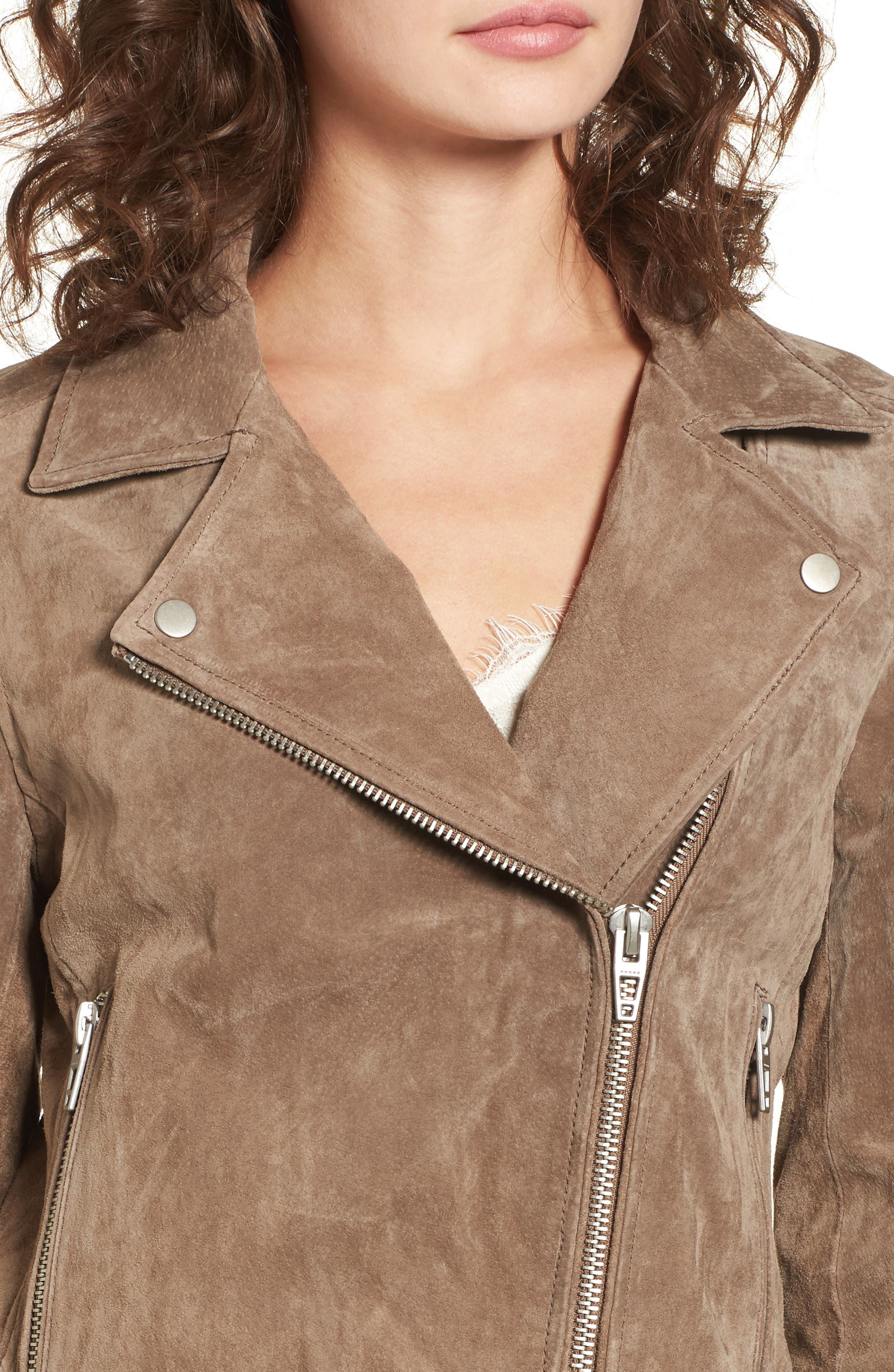 Suede Moto Jacket,                             Alternate thumbnail 4, color,                             Midnight Toker