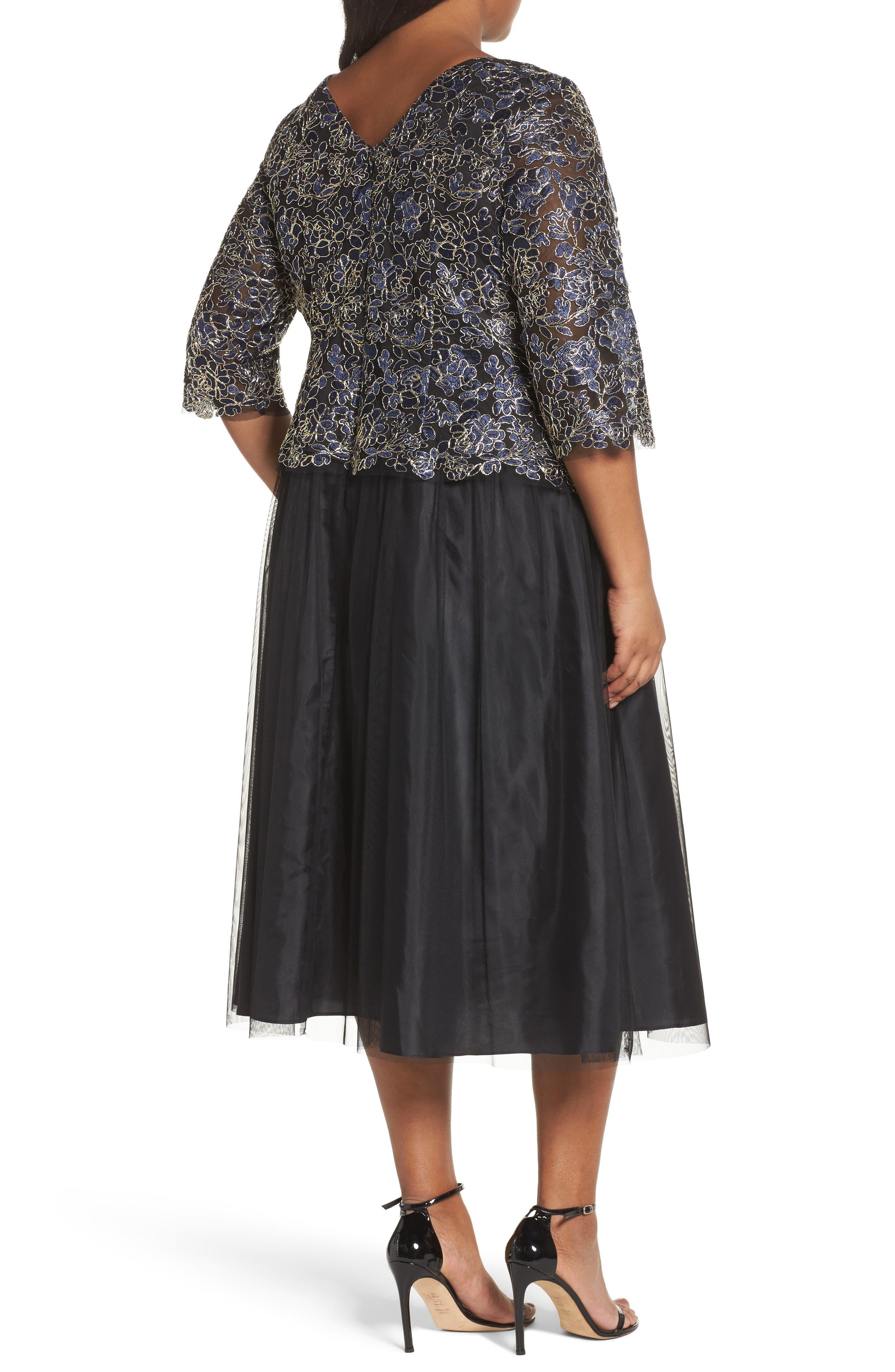 Alternate Image 2  - Alex Evenings Tea Length Lace & Tulle Dress (Plus Size)