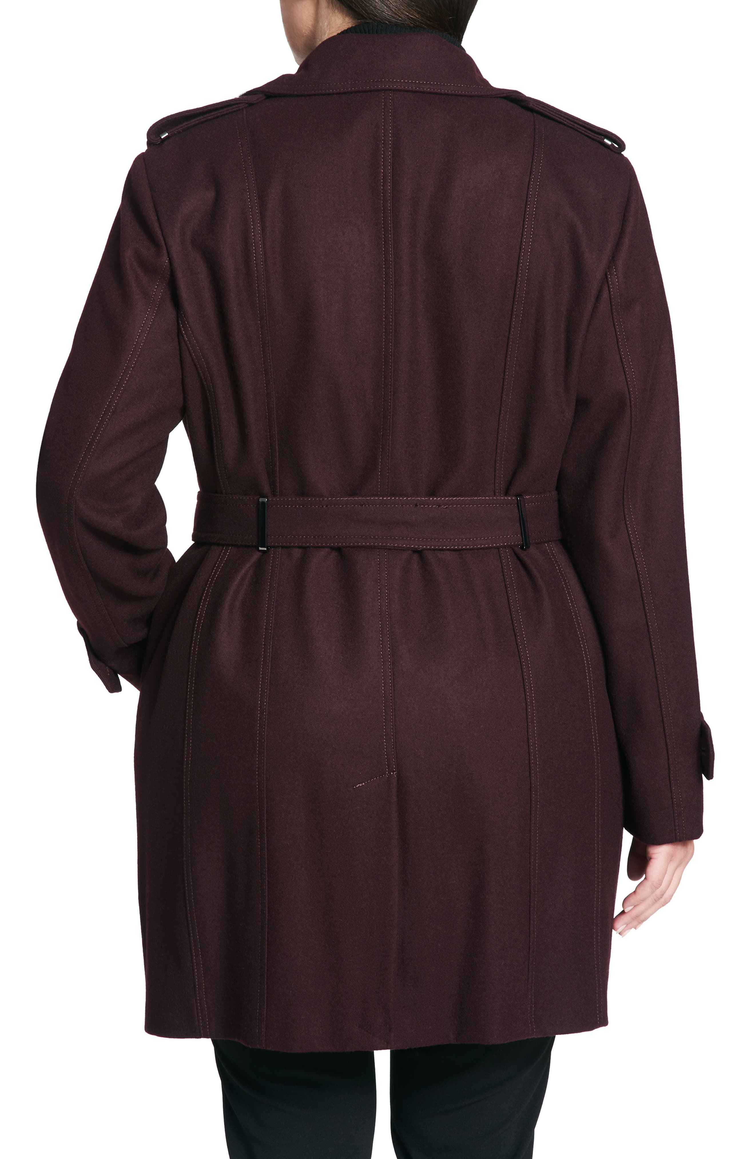 Single Breasted Wool Blend Trench Coat,                             Alternate thumbnail 2, color,                             Burgundy