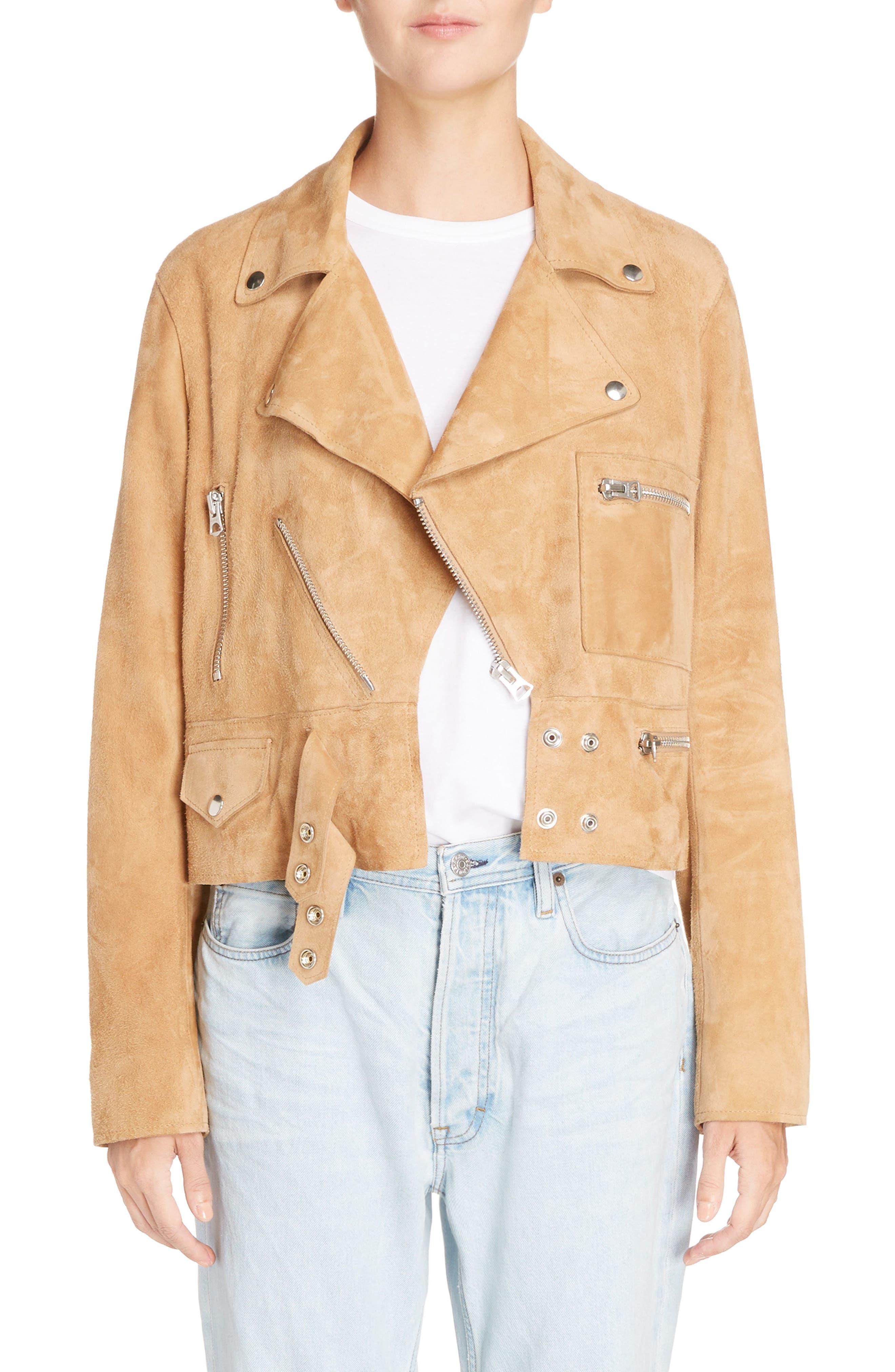 Suokki Suede Moto Jacket,                         Main,                         color, Camel Brown