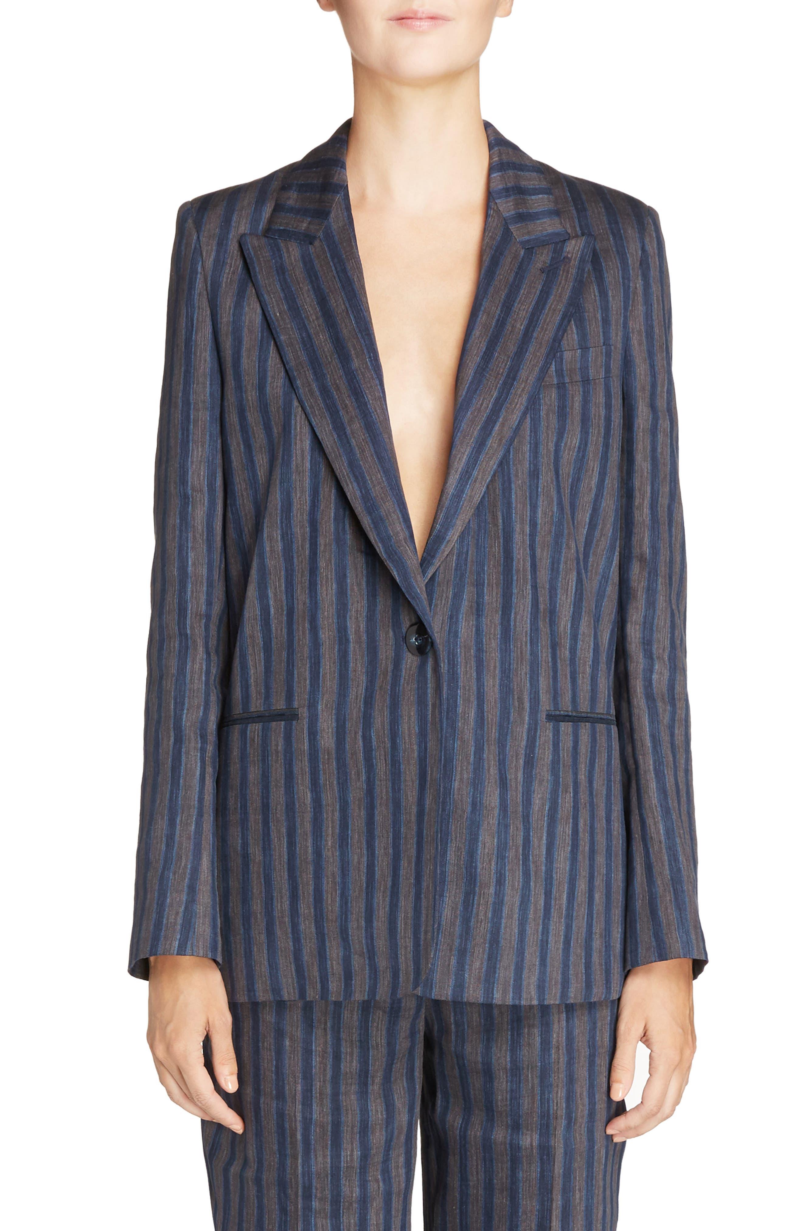 Krista Linen Blend Blazer,                             Main thumbnail 1, color,                             Blue/ Grey