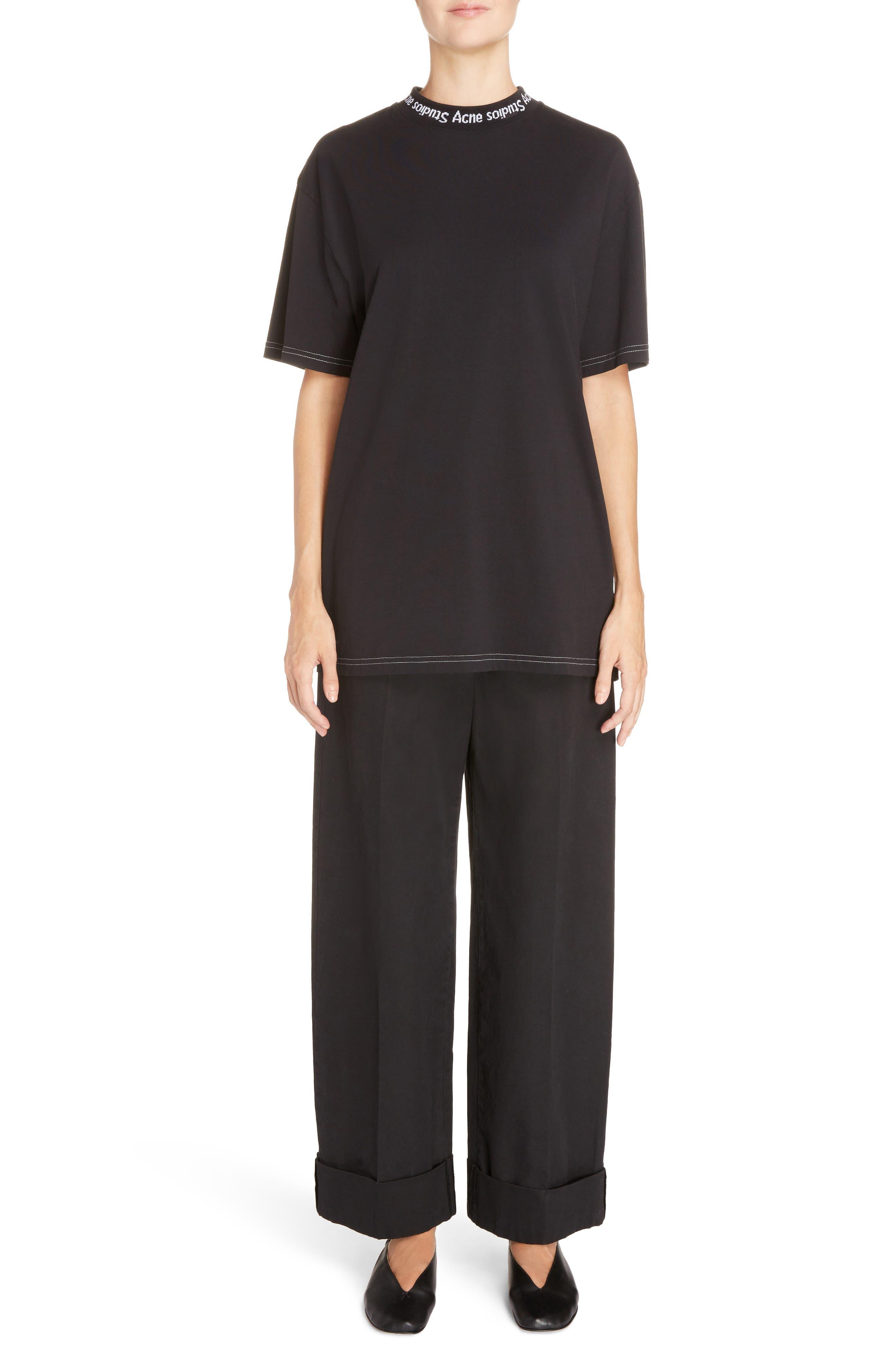 Madya Cuffed Cotton Pants,                             Alternate thumbnail 3, color,                             Black