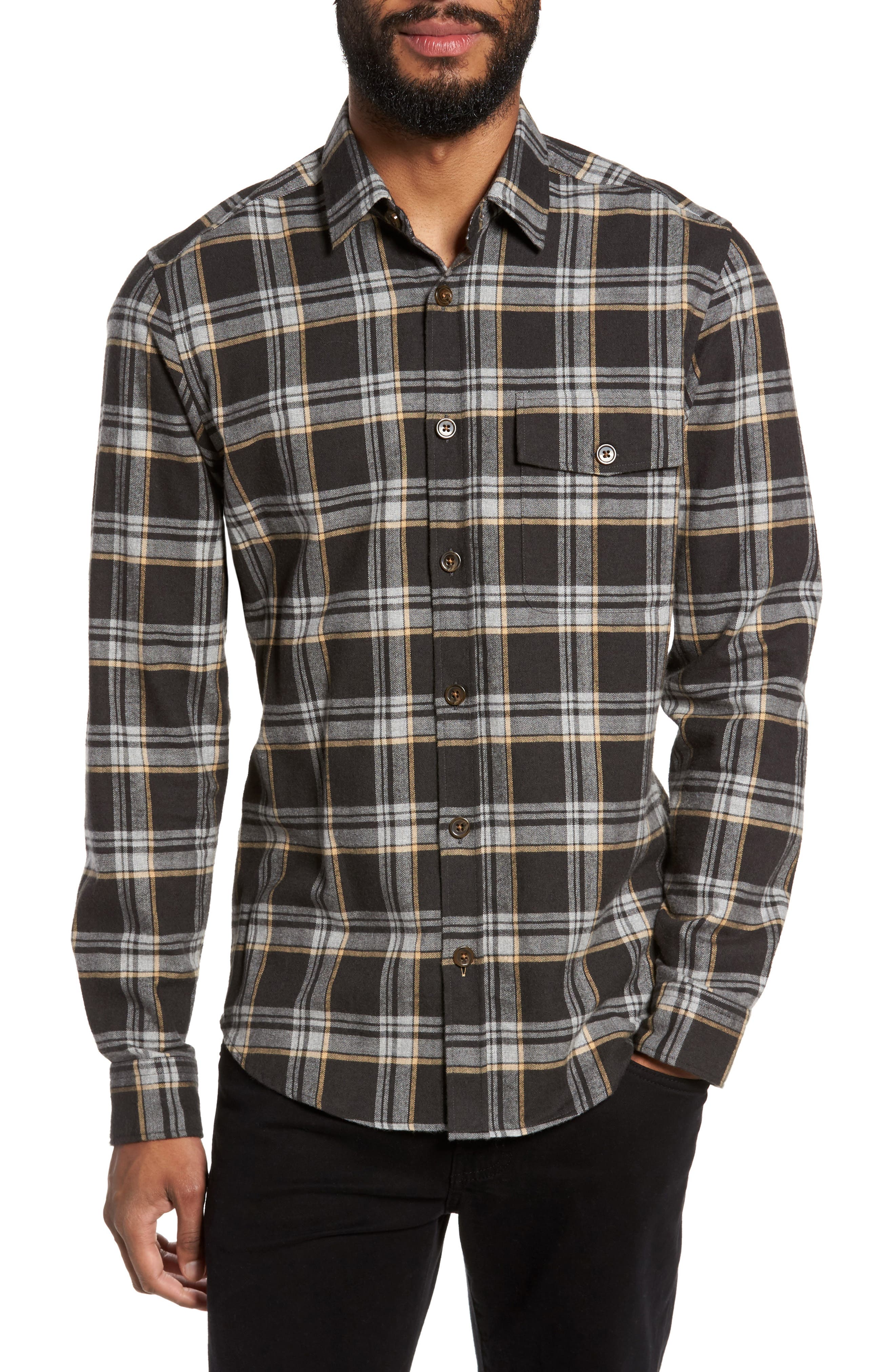 Main Image - BOSS Lalo Plaid Flannel Shirt