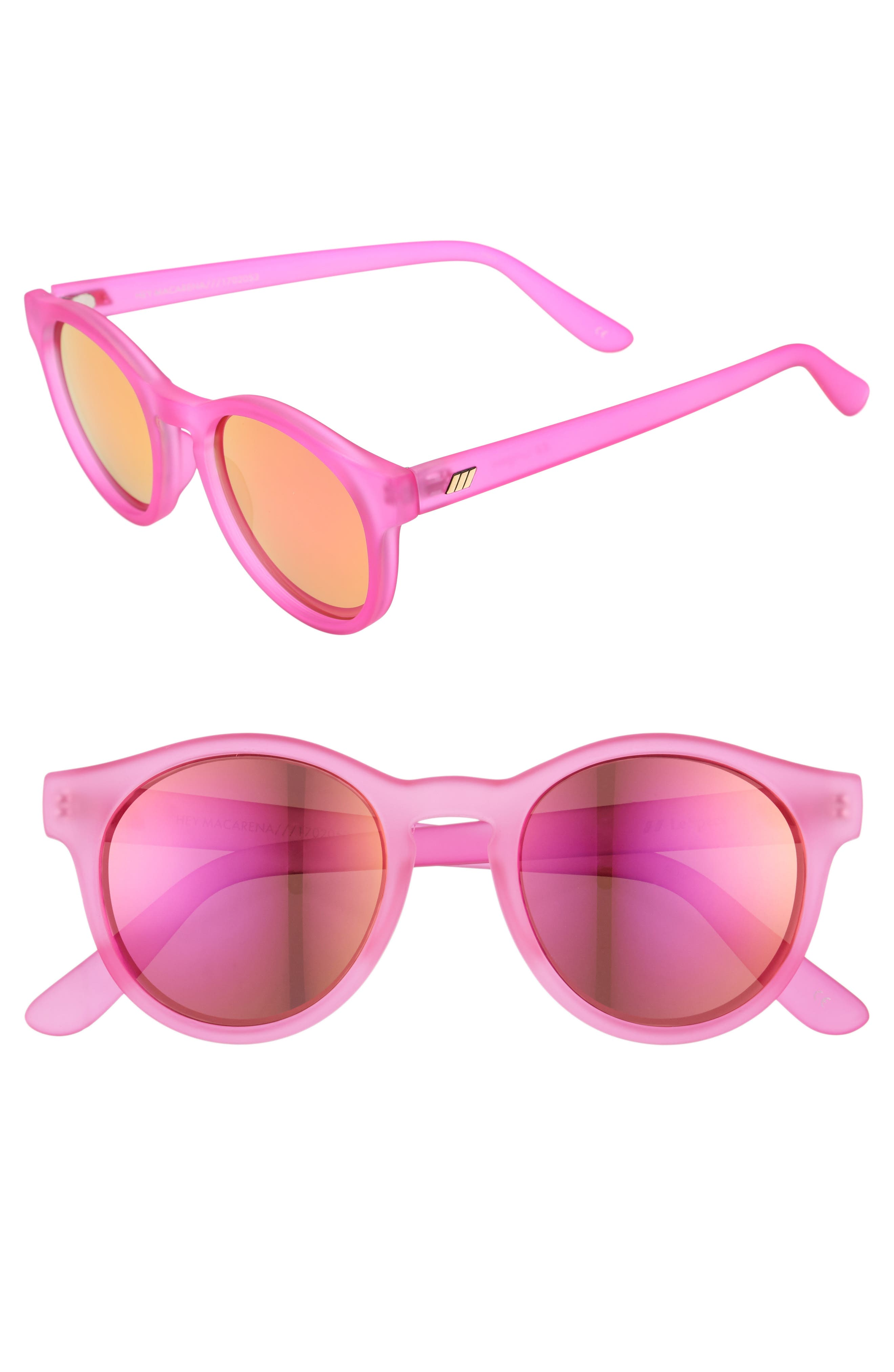 Hey Macarena 51mm Round Sunglasses,                             Main thumbnail 1, color,                             Matte Magenta