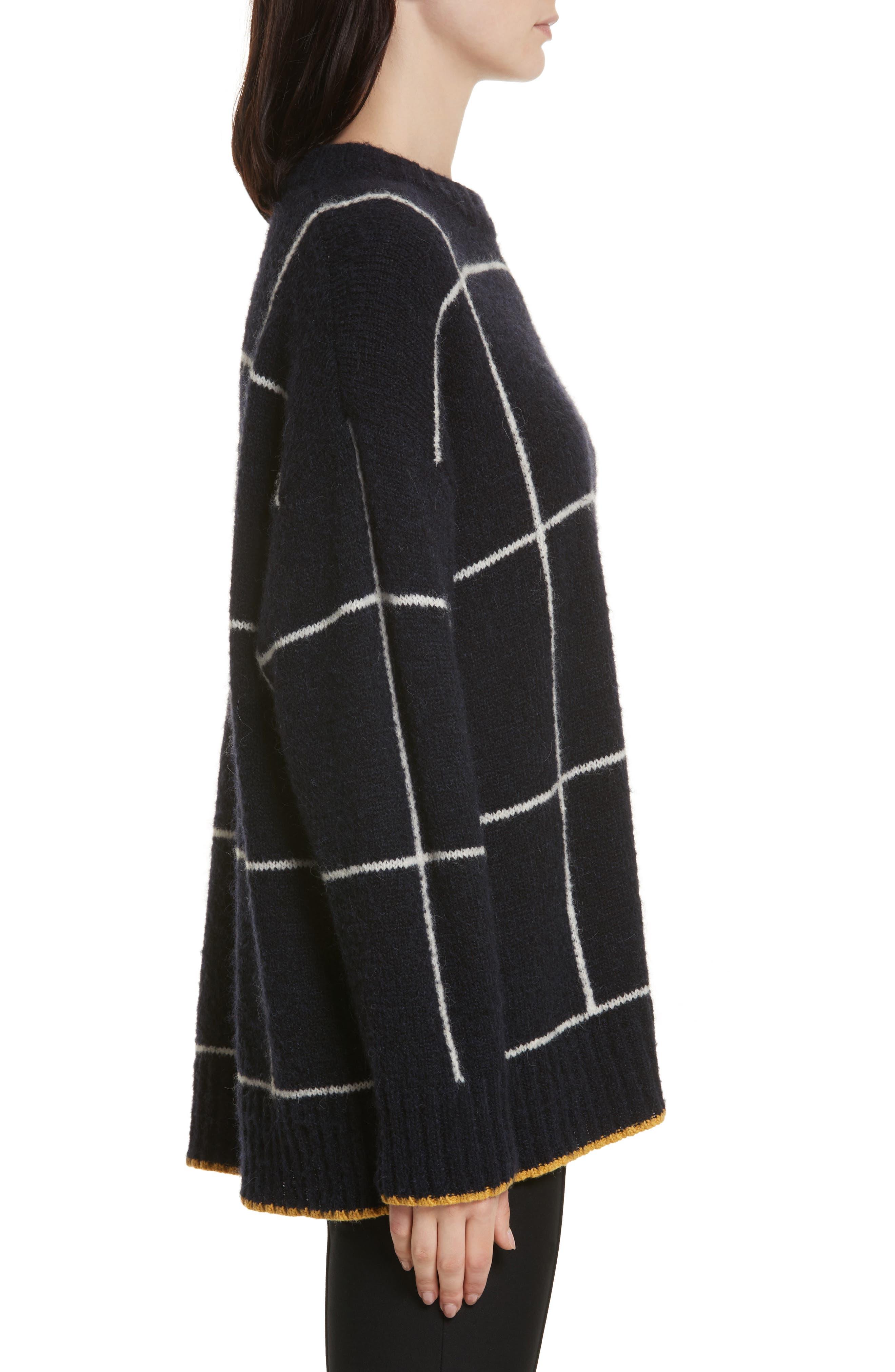 Fionn Windowpane Oversized Sweater,                             Alternate thumbnail 3, color,                             Navy/ Alabaster/ Pollen