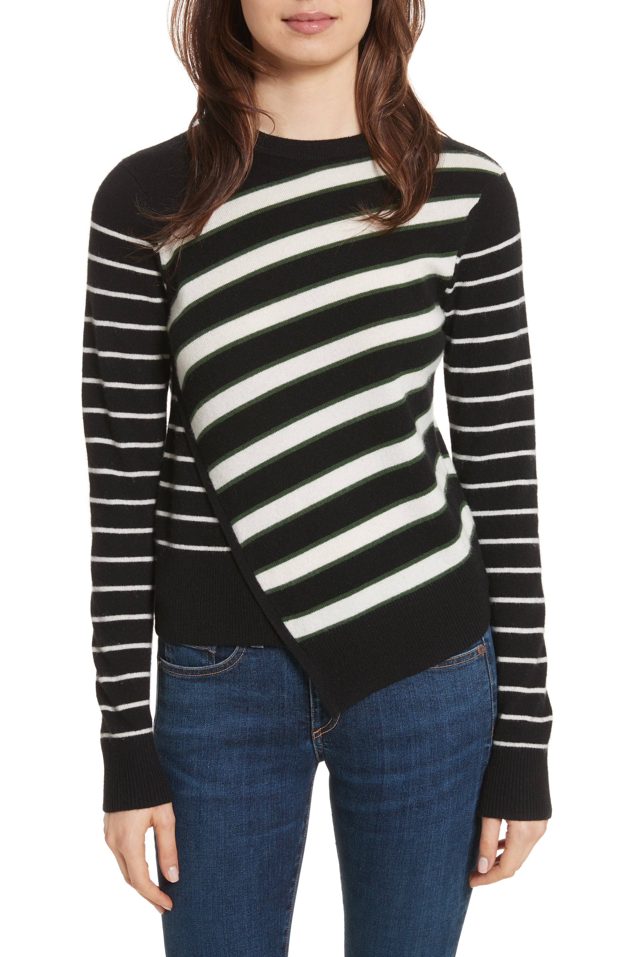 Pepper Cashmere Sweater,                         Main,                         color, Black/ Green/ Ivory