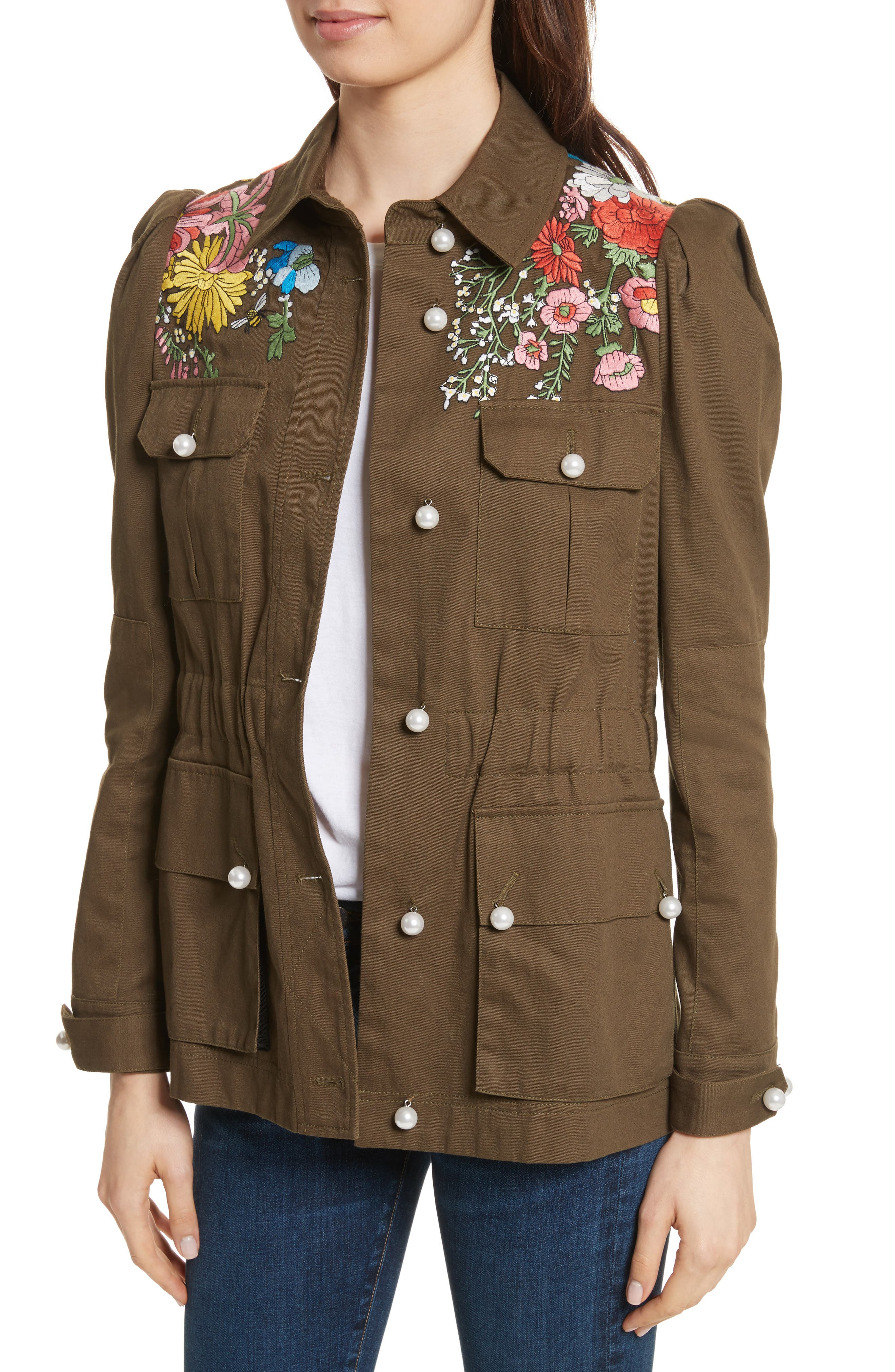 Huxley Floral Embroidered Safari Jacket,                             Alternate thumbnail 4, color,                             Army