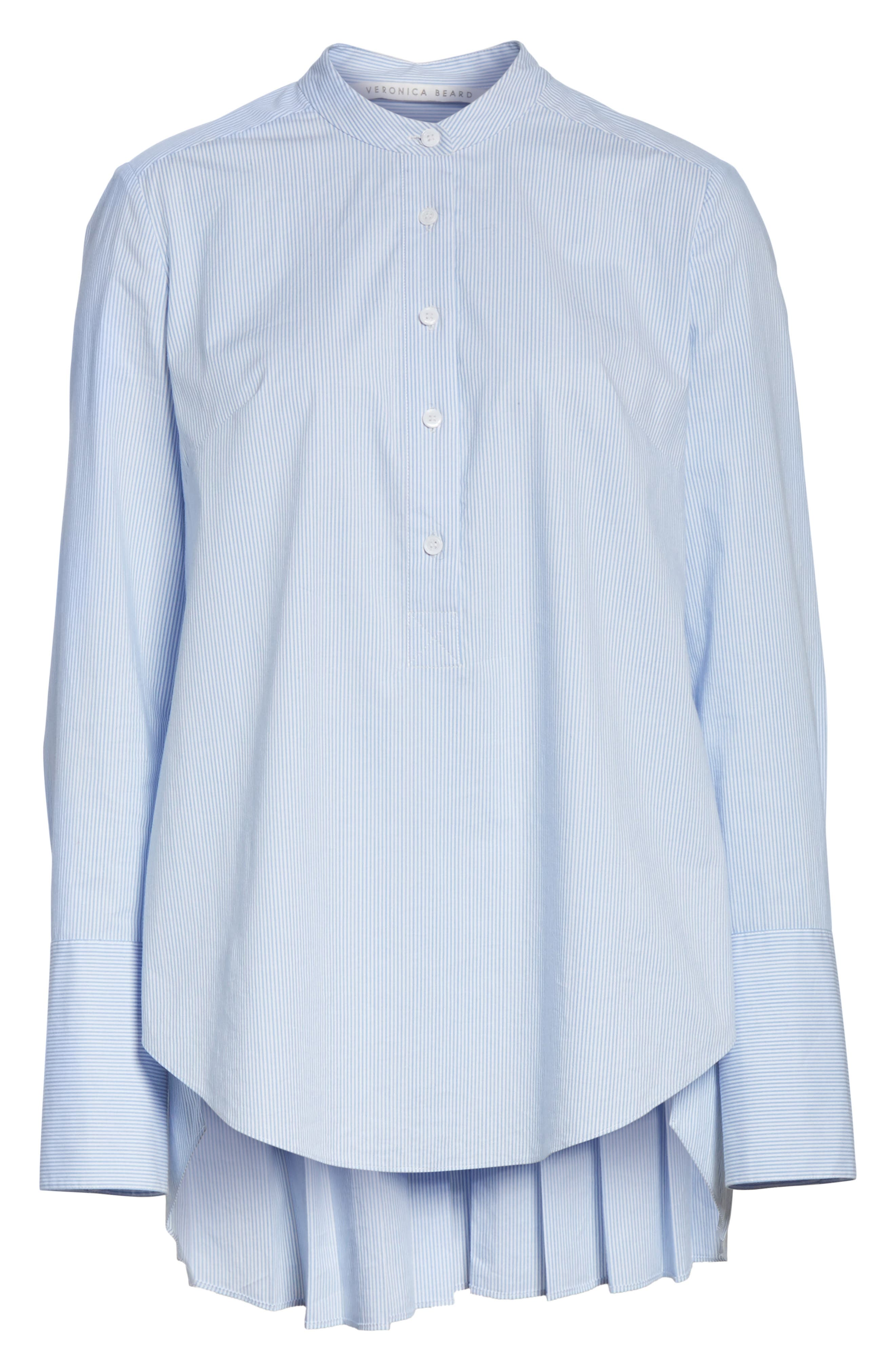 Alternate Image 6  - Veronica Beard Greer Pleated Stretch Cotton Shirt