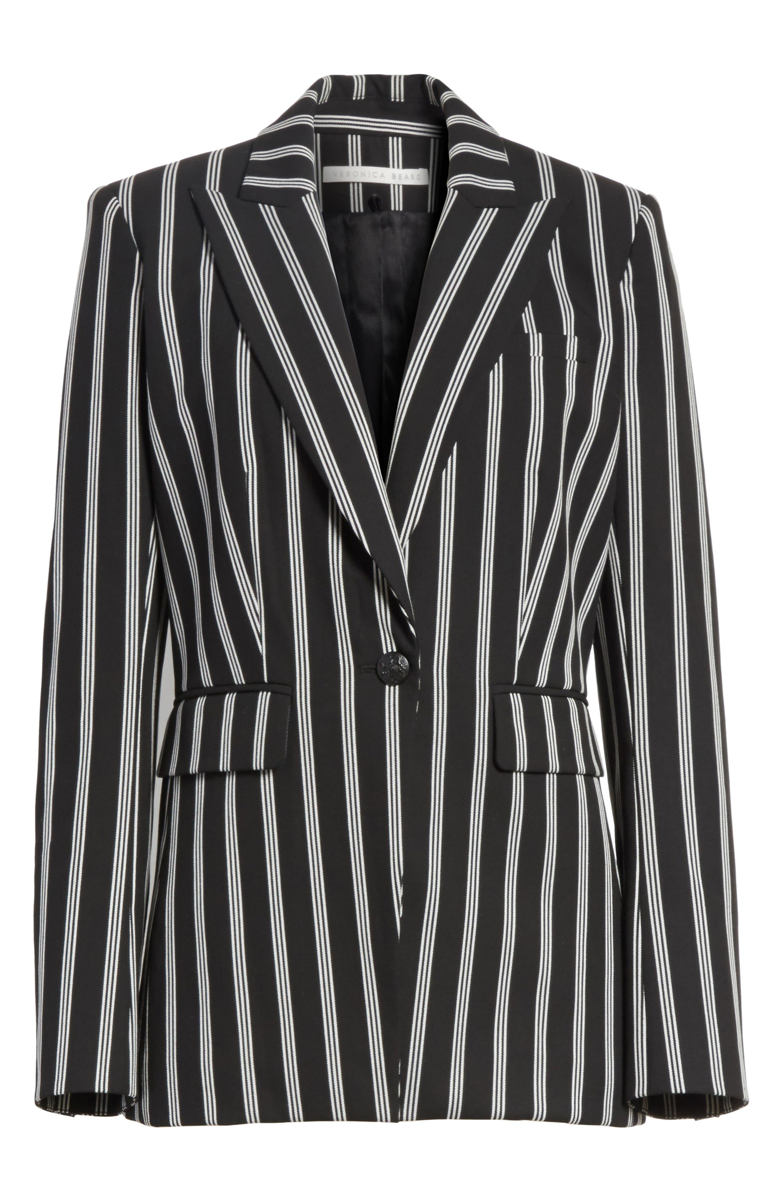 Petra Stripe Jacket,                             Alternate thumbnail 6, color,                             Black/ White