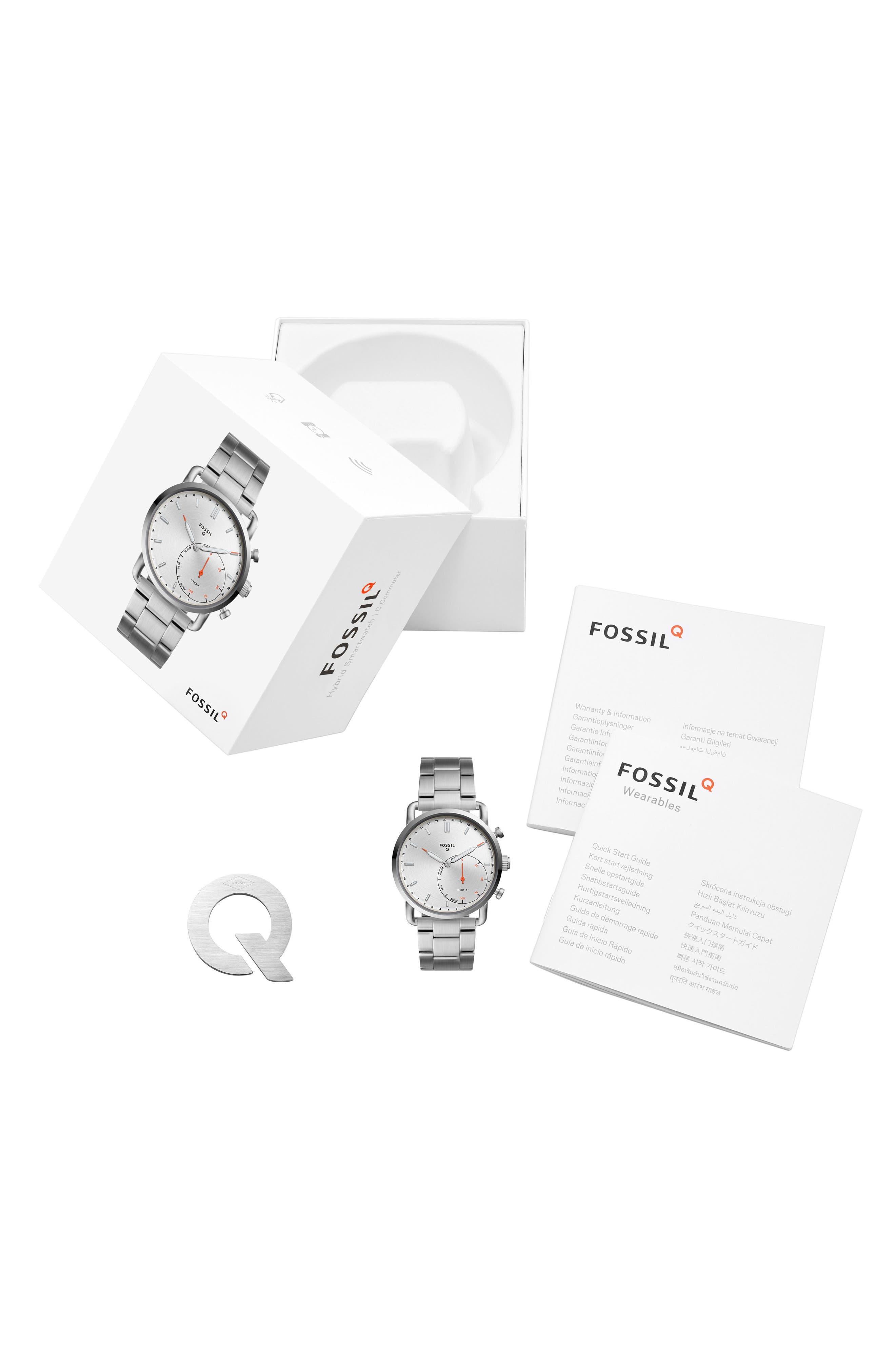 Commuter Bracelet Hybrid Smart Watch, 42mm,                             Alternate thumbnail 2, color,                             Silver