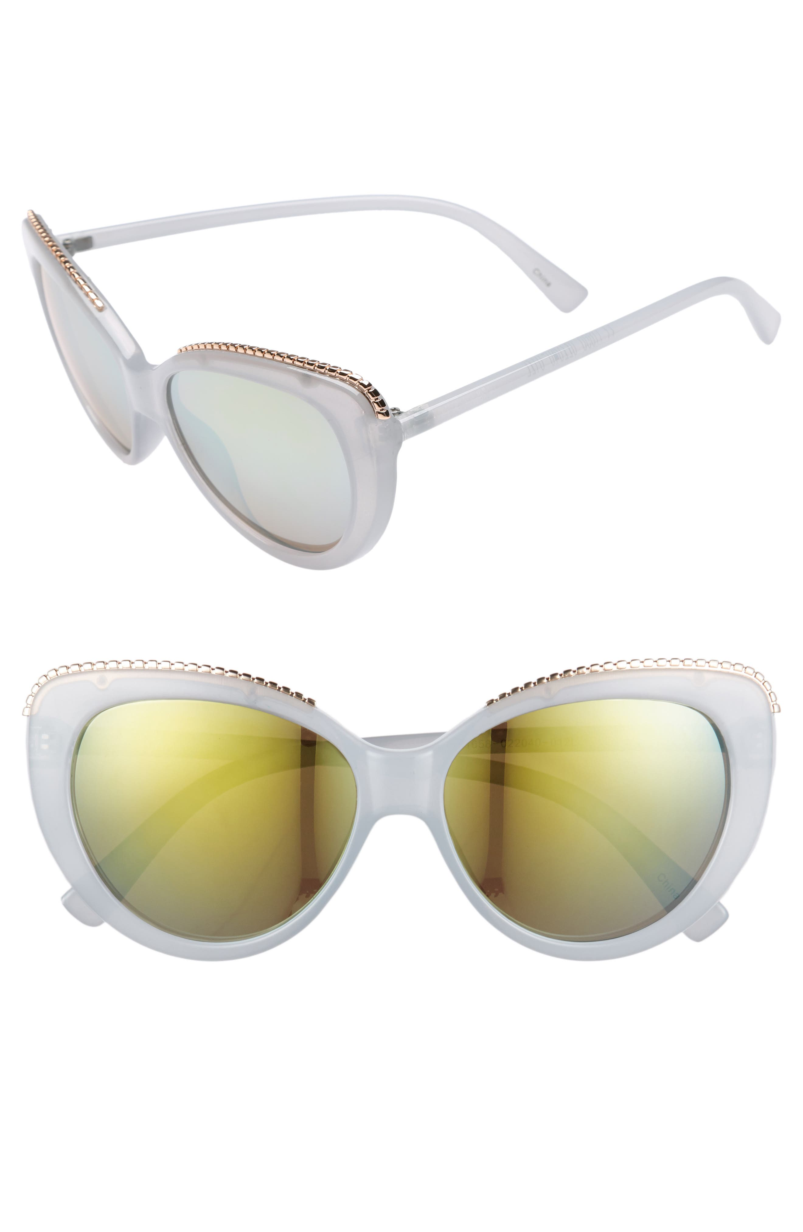 54mm Metal Trim Sunglasses,                             Main thumbnail 1, color,                             Blue