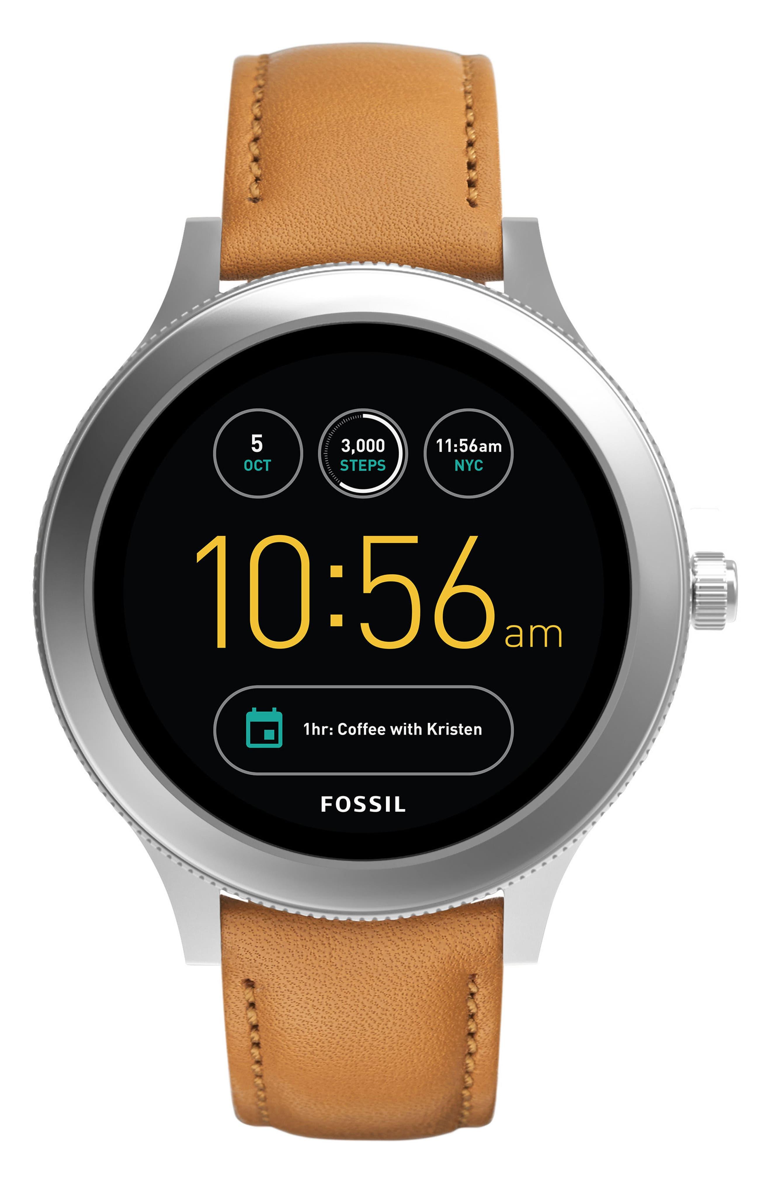 Venture Gen 3 Leather Strap Smart Watch, 42mm,                         Main,                         color, Luggage/ Black/ Silver
