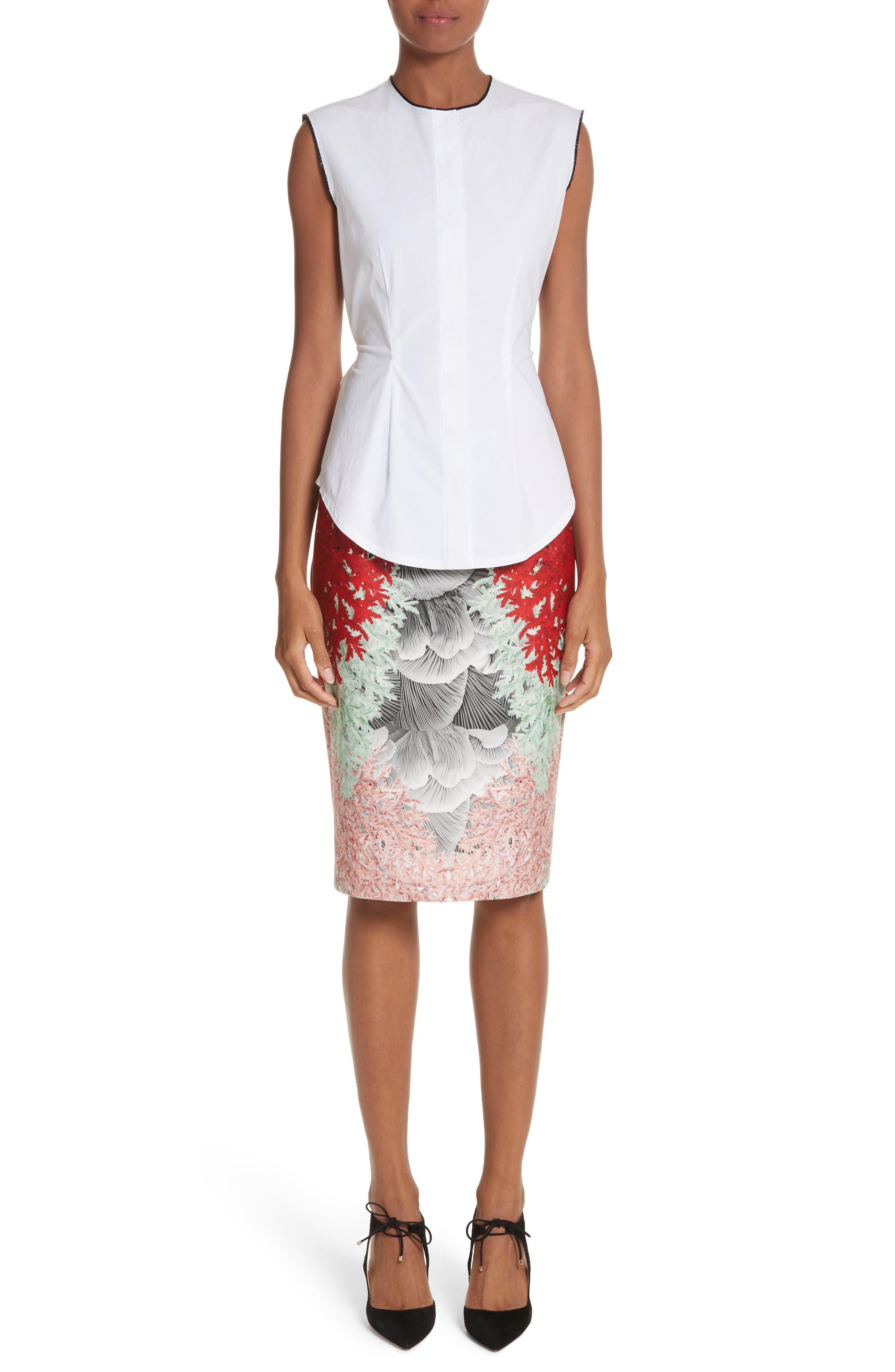 Alternate Image 6  - Yigal Azrouël Coral Print Scuba Pencil Skirt