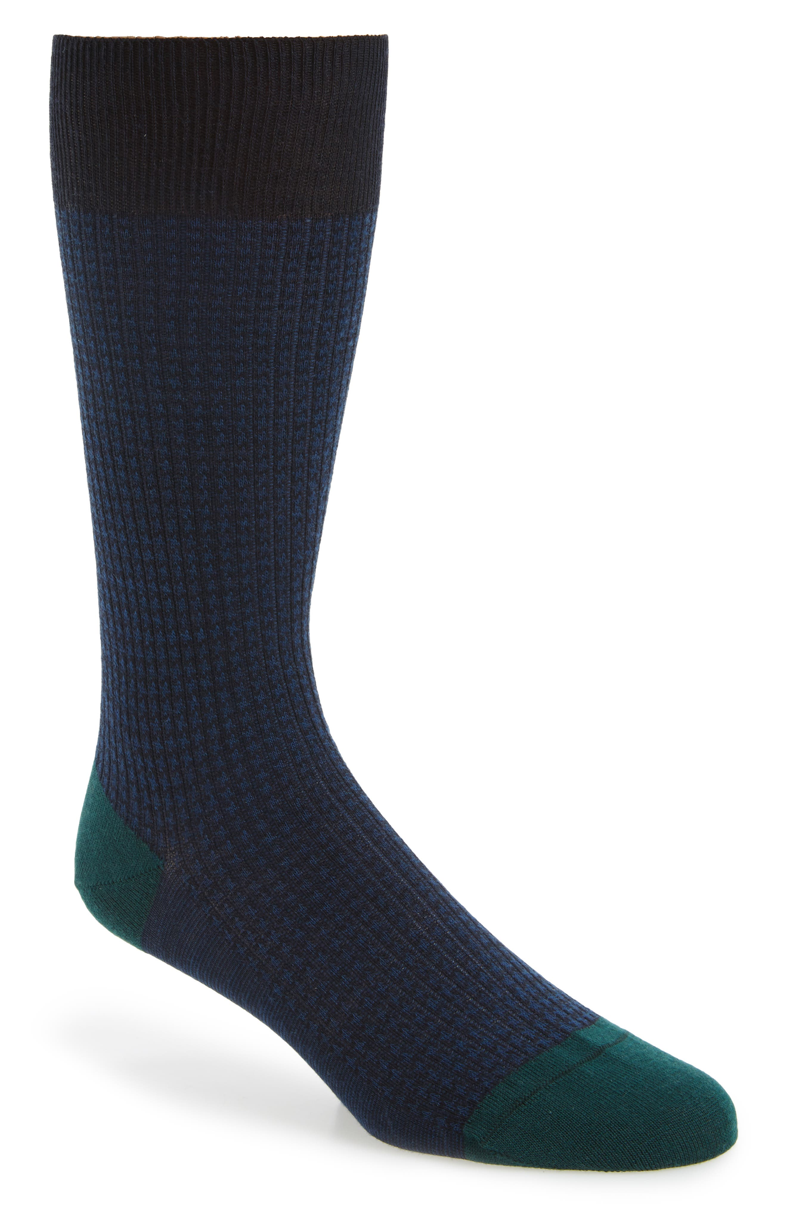 Houndstooth Wool Blend Socks,                             Main thumbnail 1, color,                             Navy