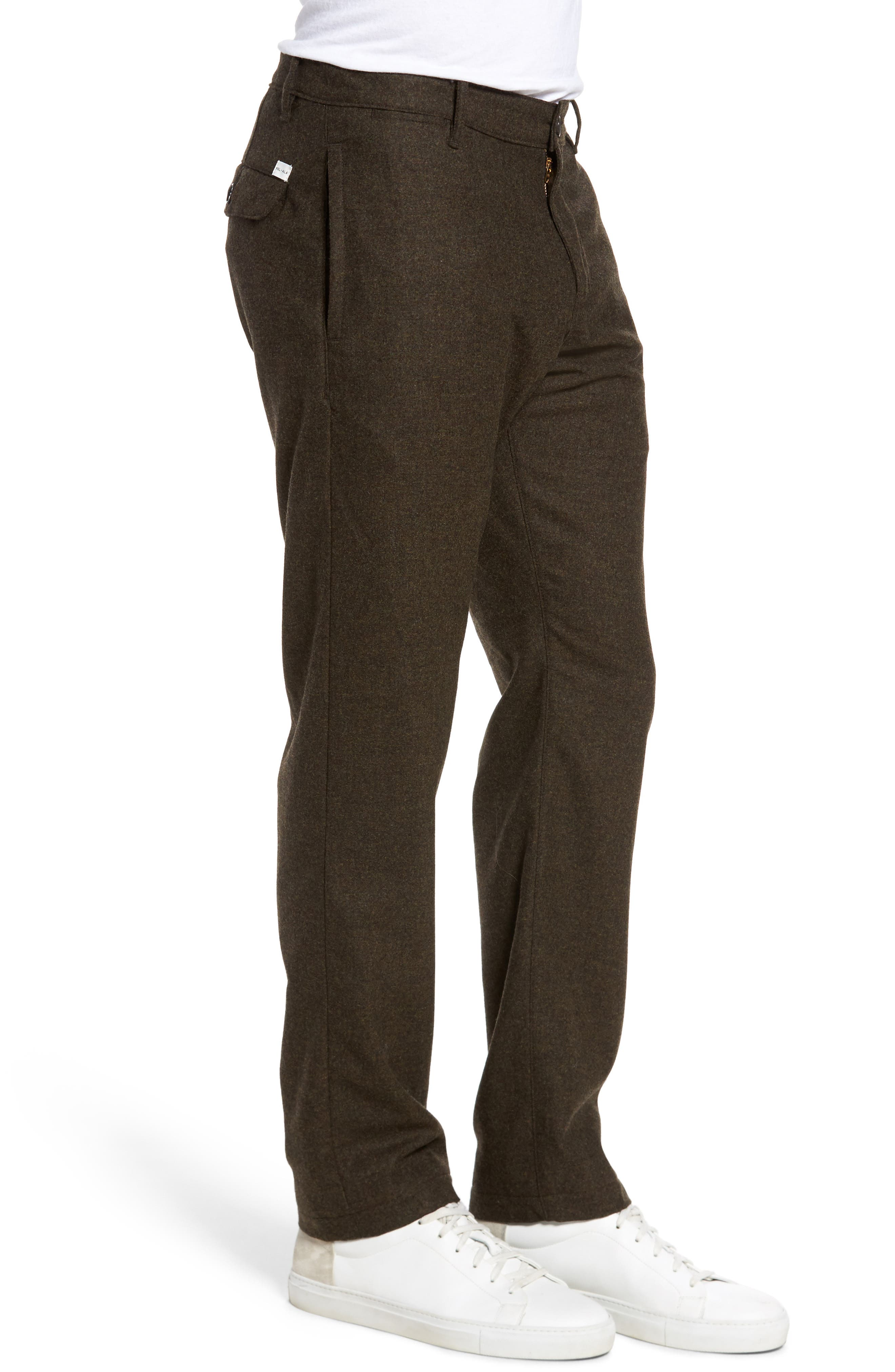 Wool & Cashmere Slim Straight Leg Chinos,                             Alternate thumbnail 3, color,                             Military
