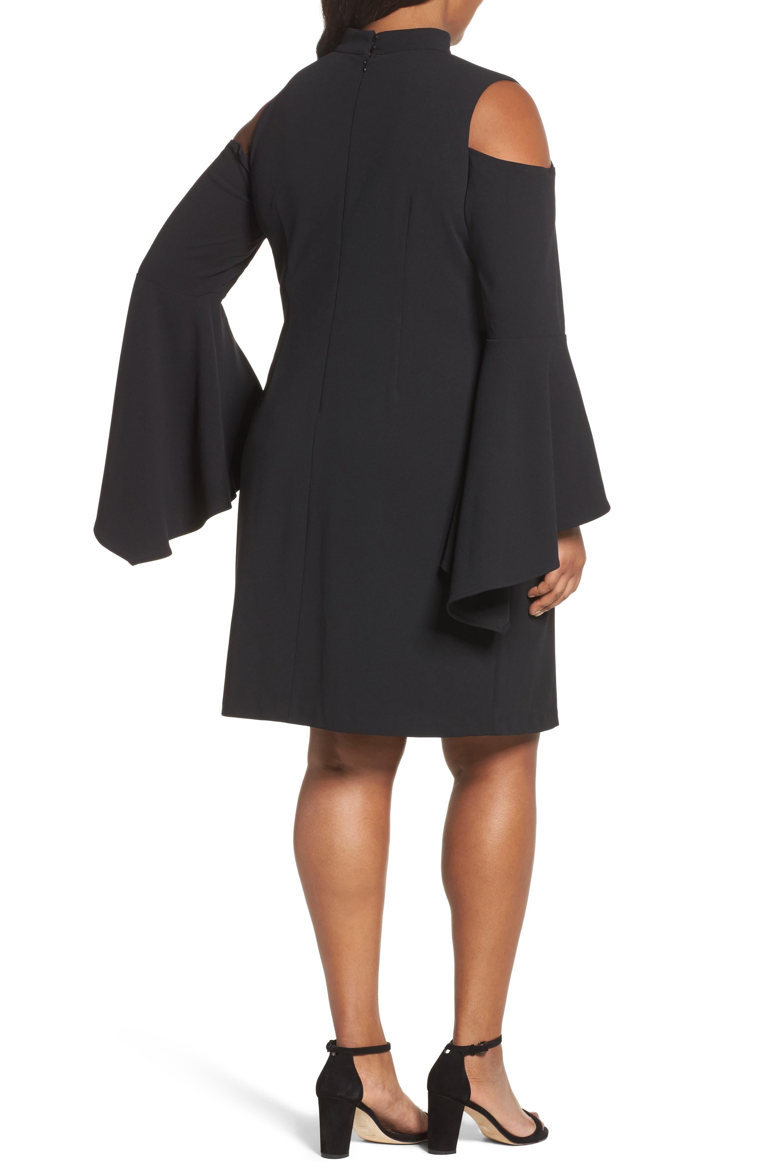 Cold Shoulder Bell Sleeve Dress,                             Alternate thumbnail 2, color,                             Rich Black