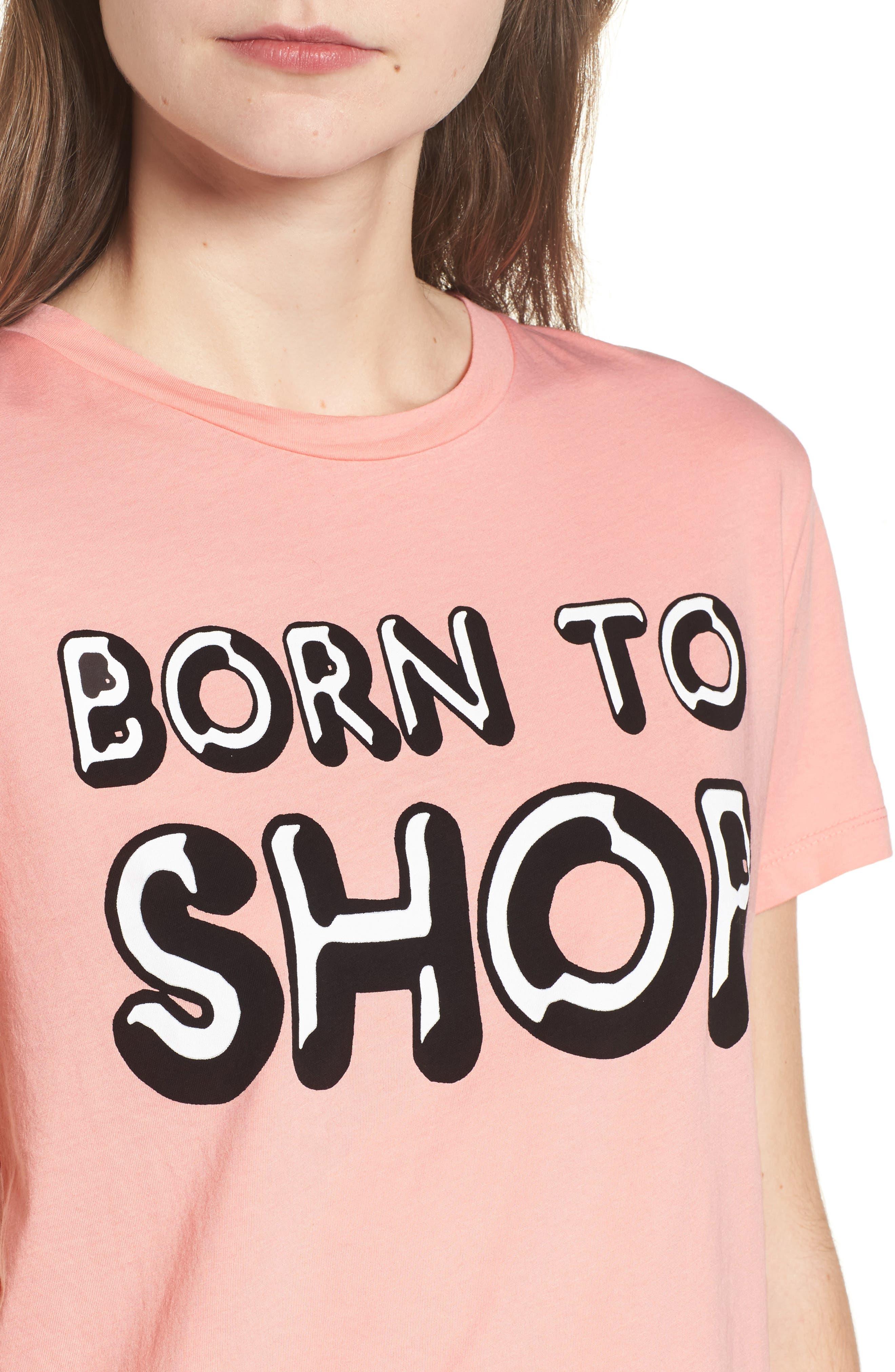 Born to Shop Tee,                             Alternate thumbnail 4, color,                             Peony