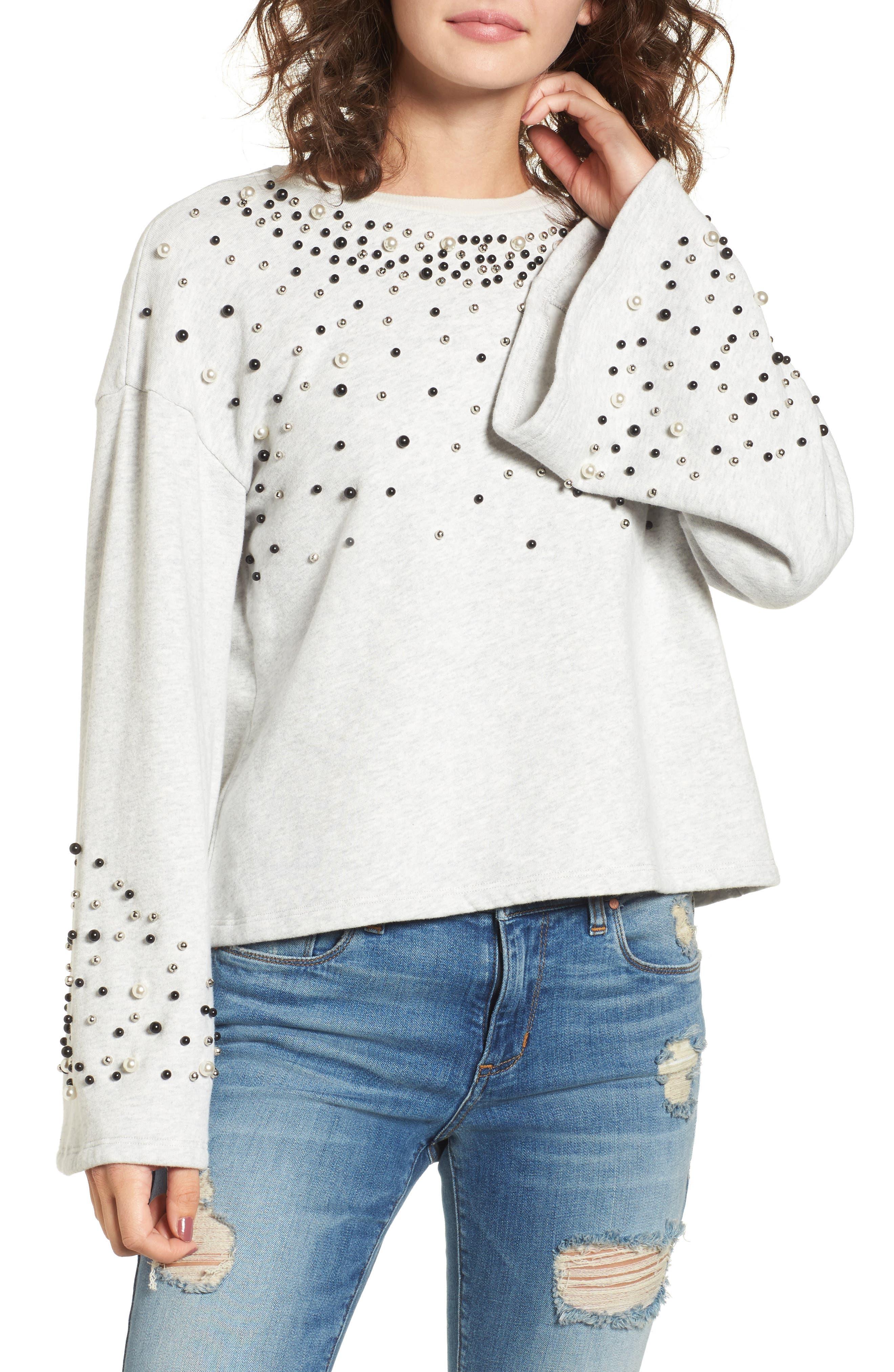 Embellished Bell Sleeve Sweatshirt,                         Main,                         color, Grey Light Heather