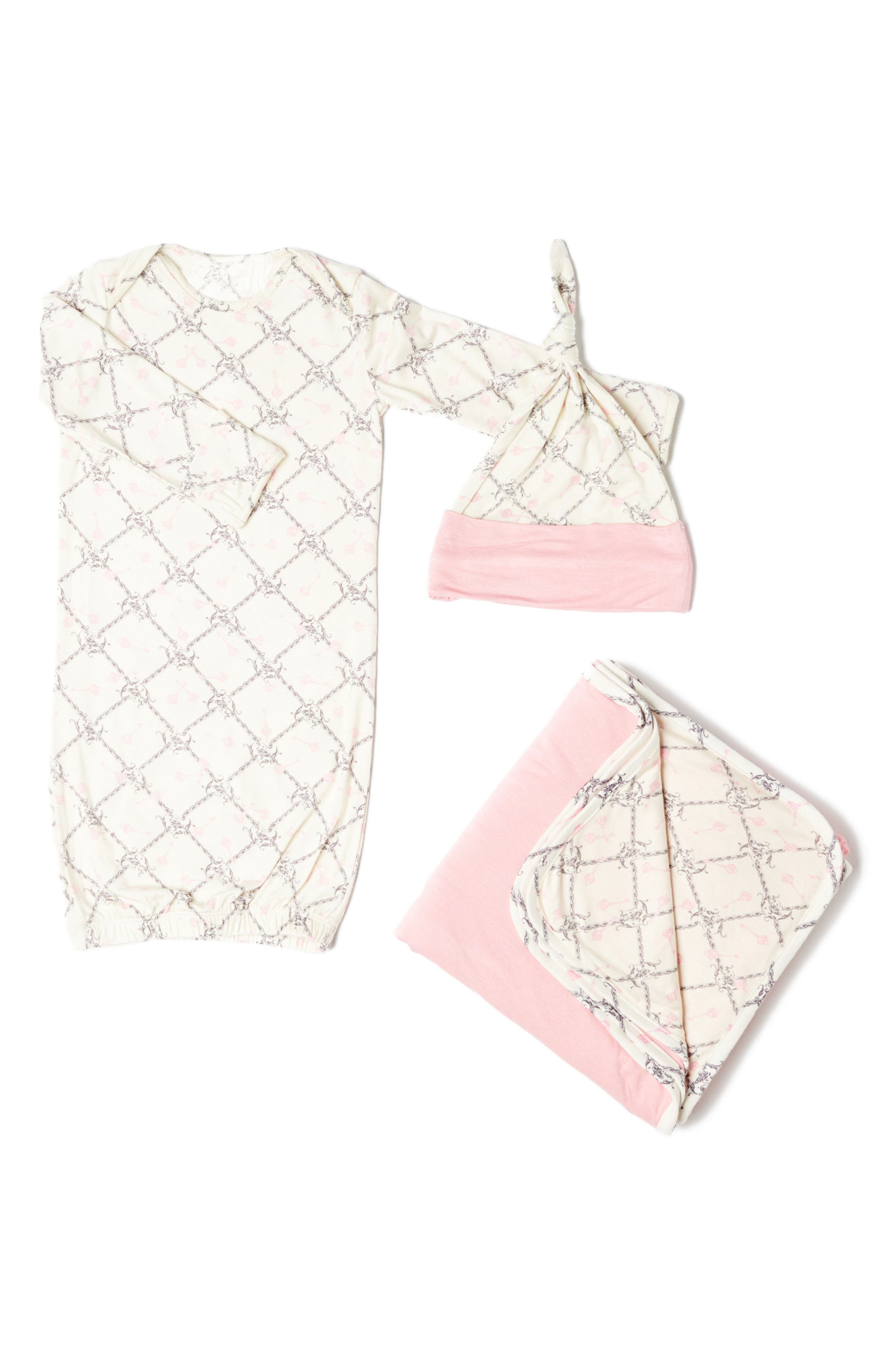 Print Gown, Hat & Blanket Set,                         Main,                         color, Duchess