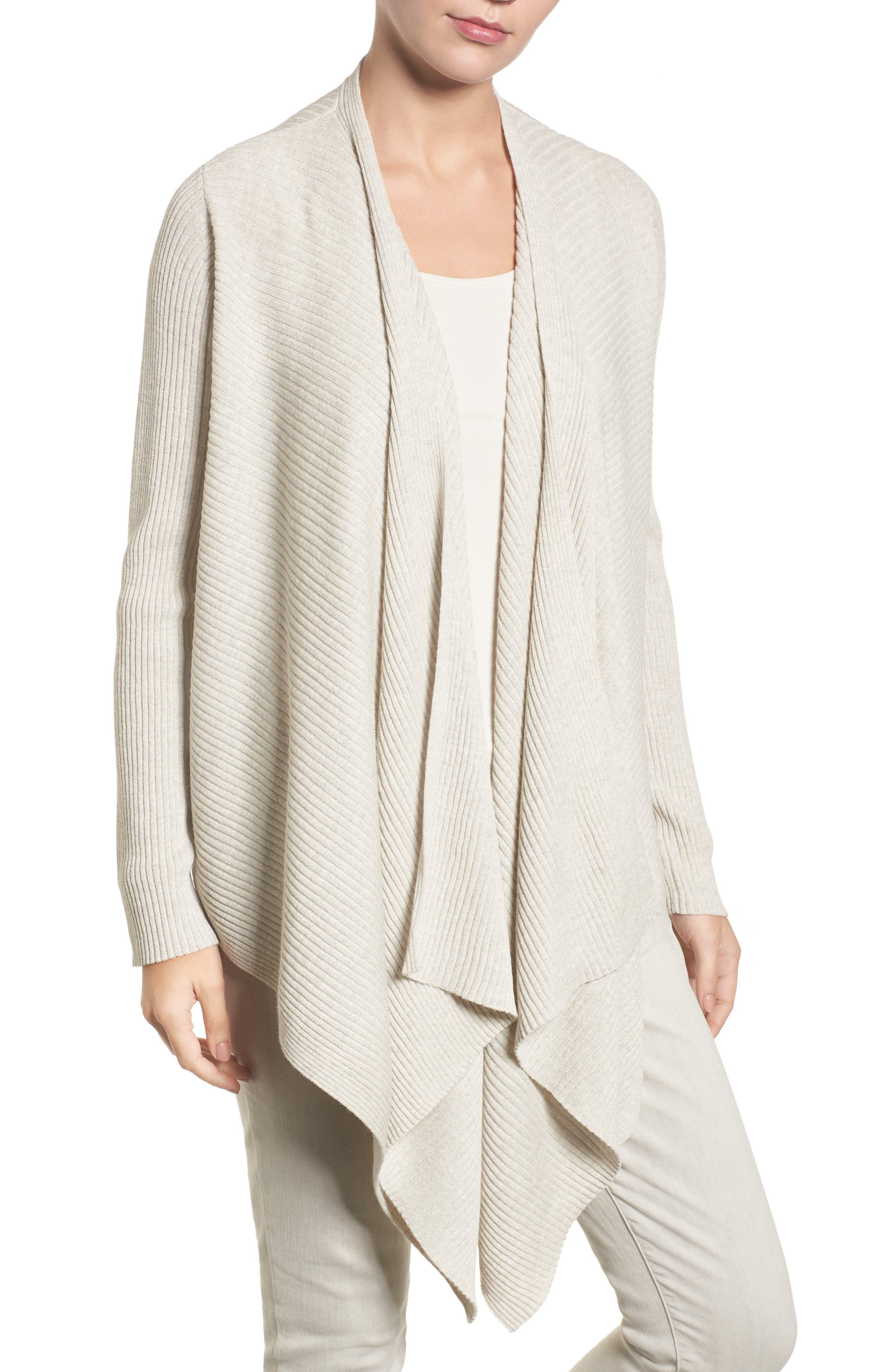 Eileen Fisher Drape Front Wool Cardigan