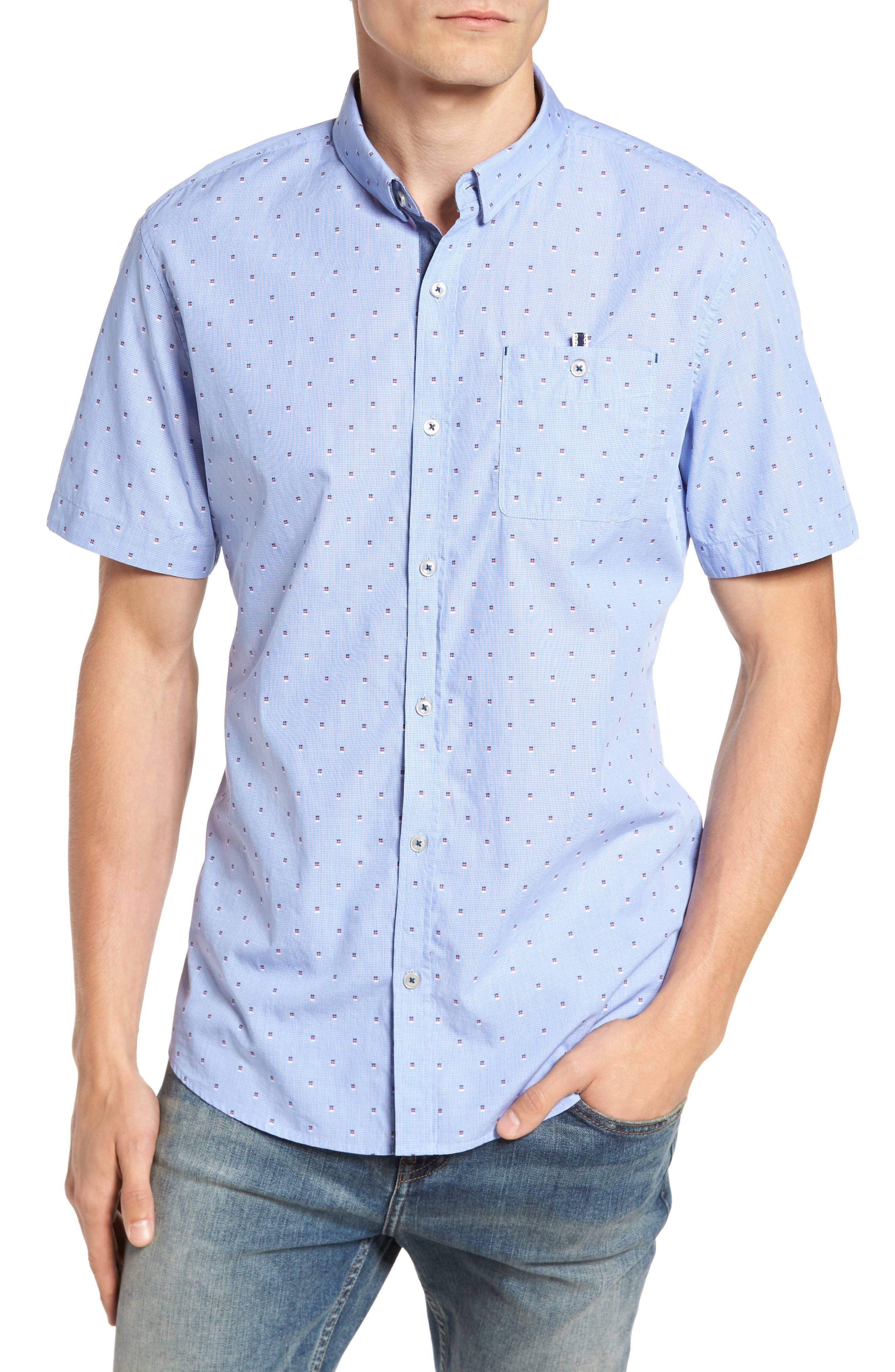 Double Feature Short Sleeve Sport Shirt,                         Main,                         color, Light Blue