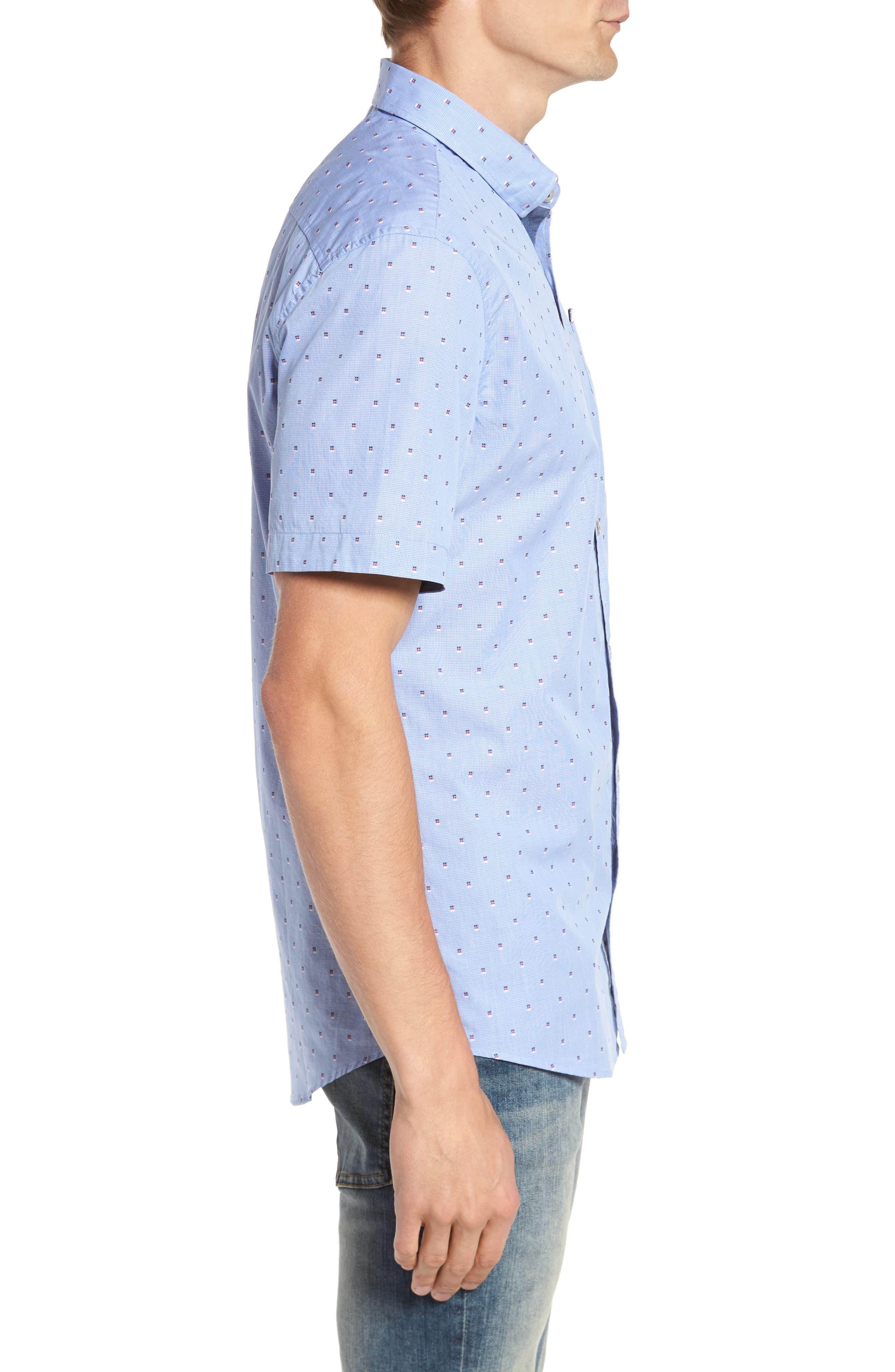 Double Feature Short Sleeve Sport Shirt,                             Alternate thumbnail 3, color,                             Light Blue