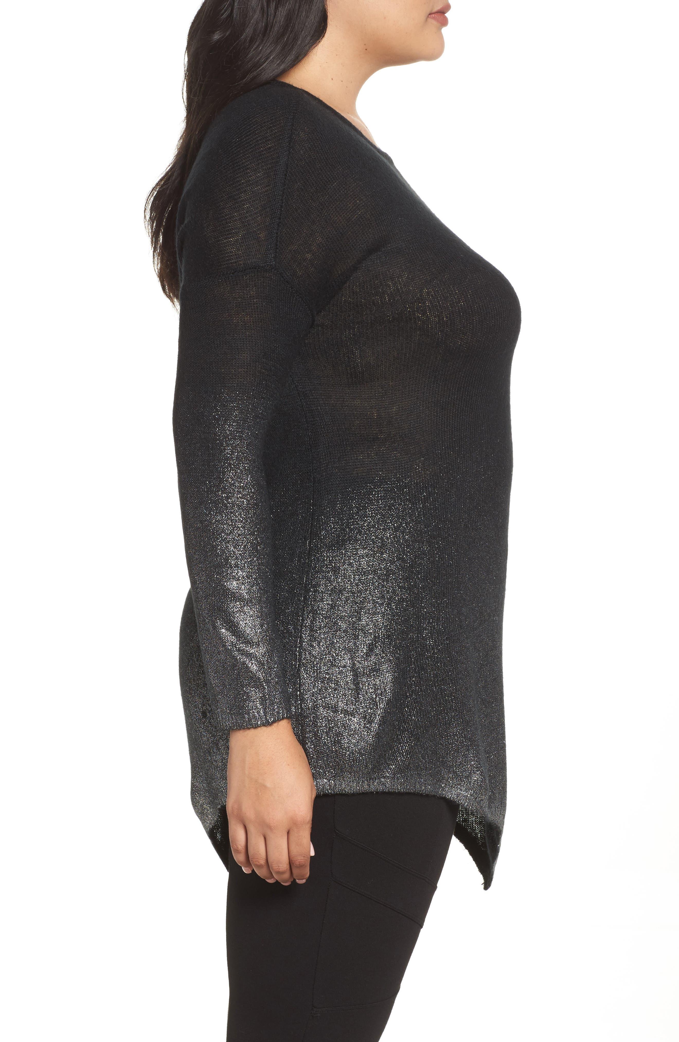 Asymmetrical Metallic Ombré Sweater,                             Alternate thumbnail 3, color,                             Rich Black