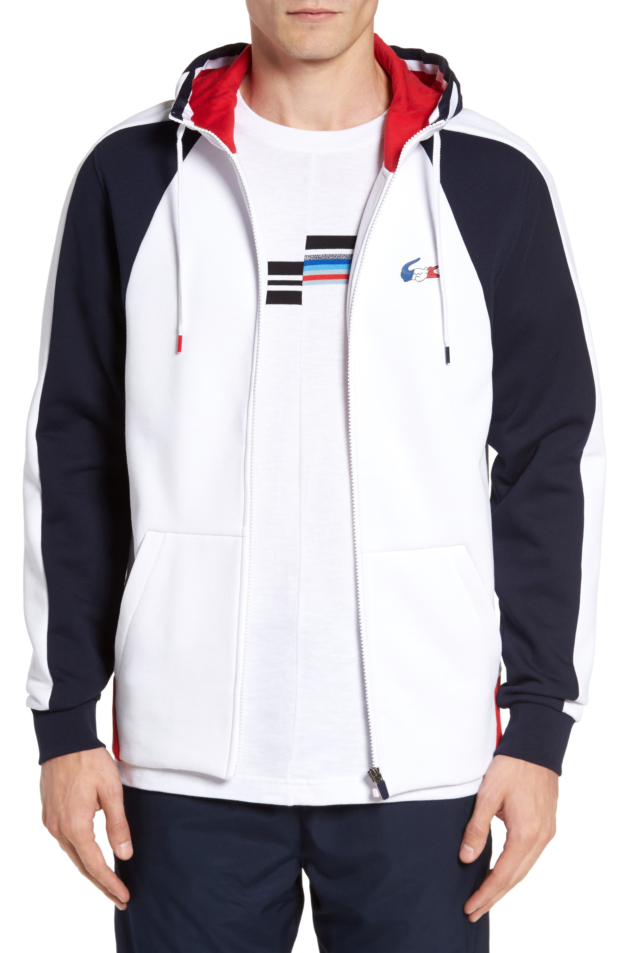 Zip Hoodie,                         Main,                         color, White/ Navy Blue/ Red