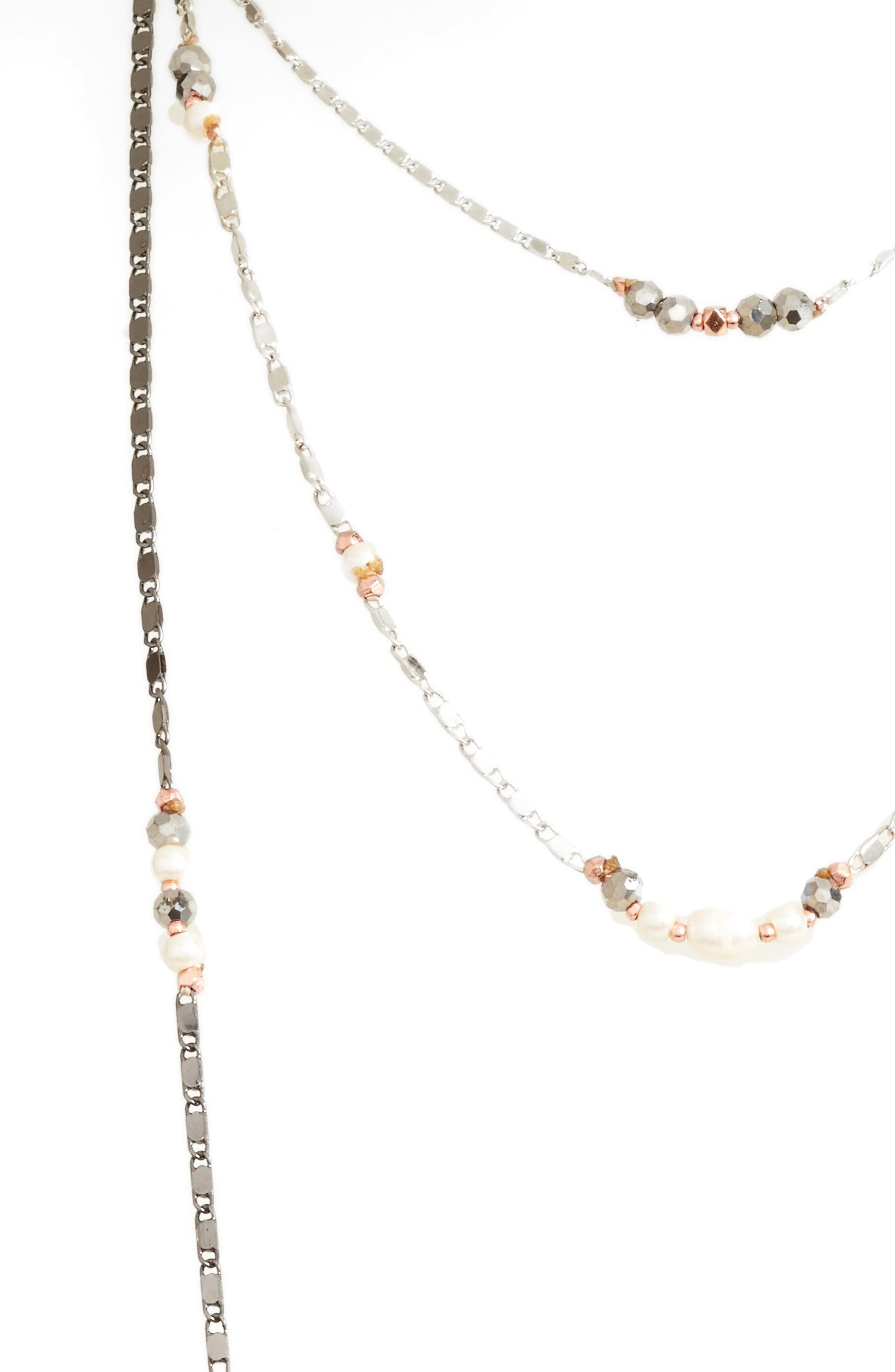 Layered Chain Necklace,                             Alternate thumbnail 2, color,                             White