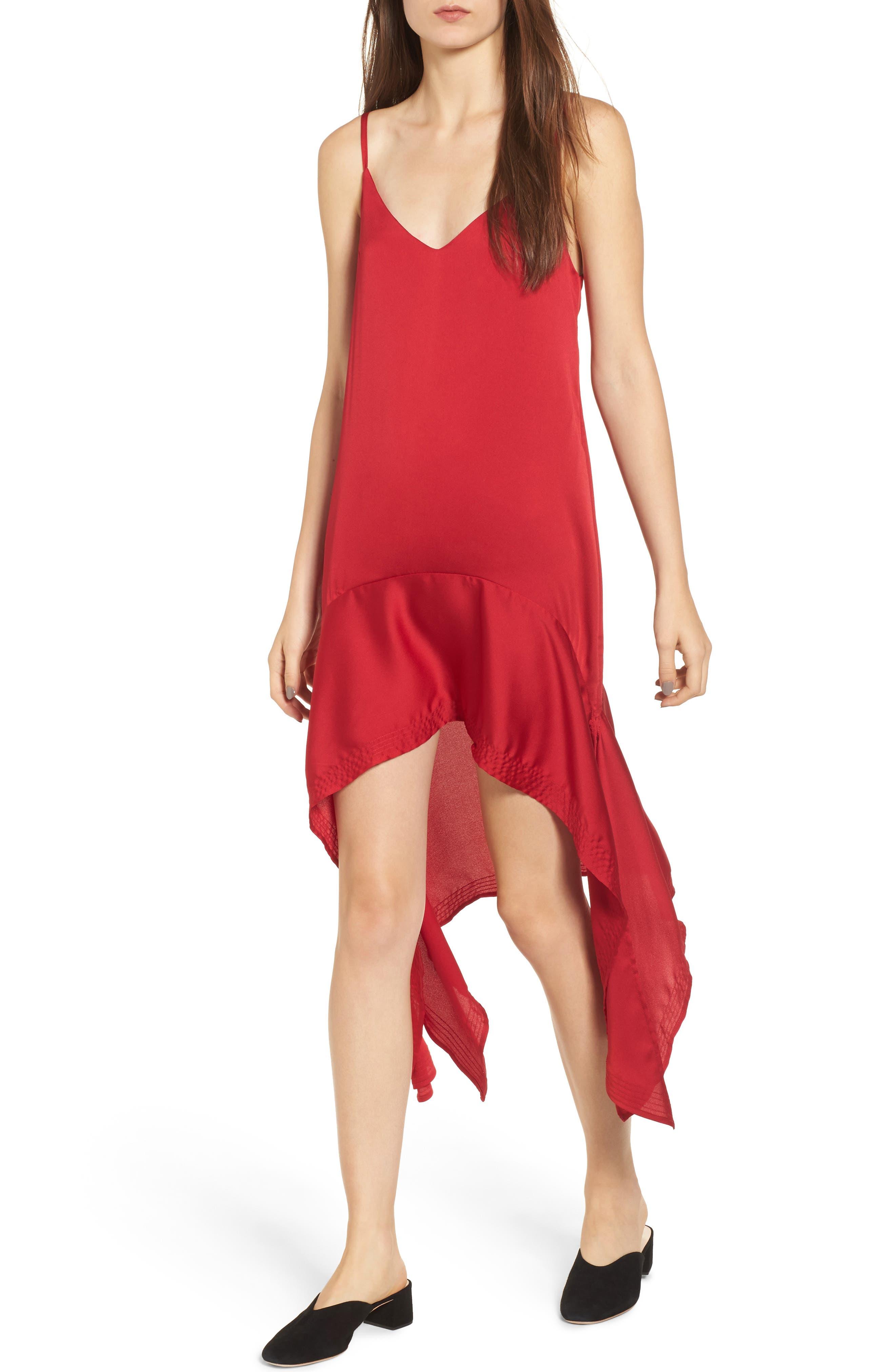 Palladium Shark Bite Hem Dress,                         Main,                         color, Ruby