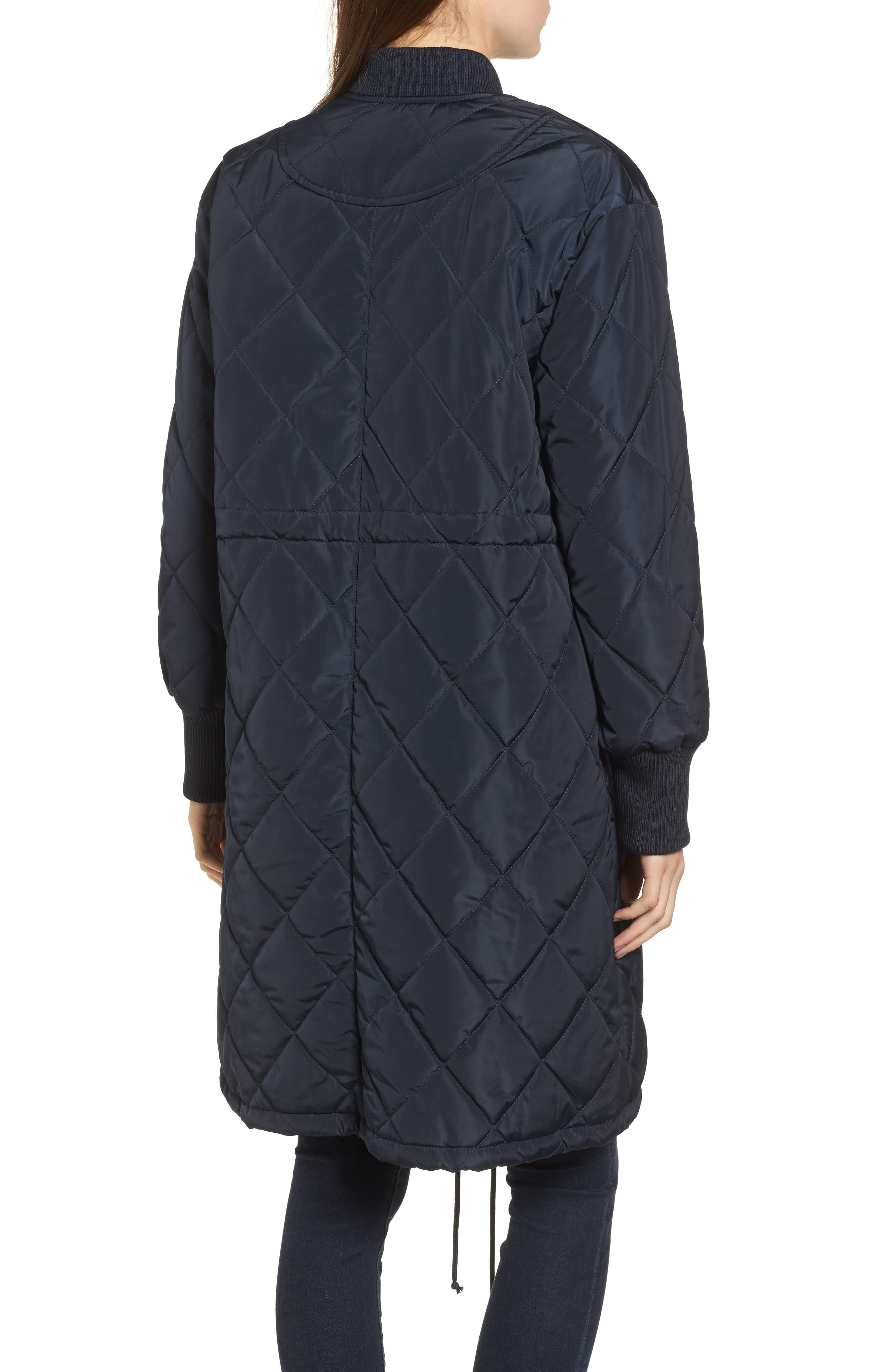 Merchant Long Quilted Jacket,                             Alternate thumbnail 2, color,                             Navy