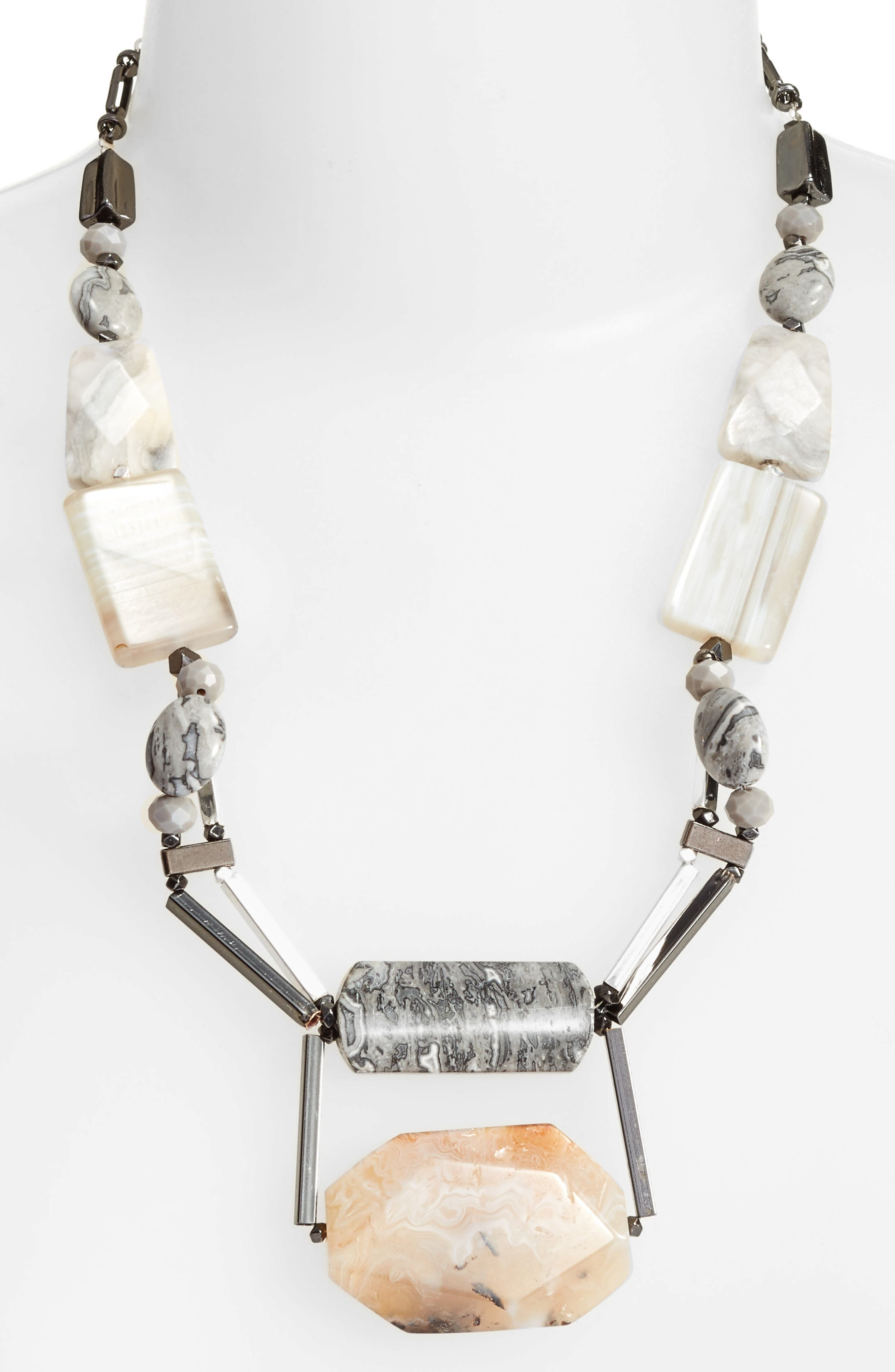 Agate & Moonstone Necklace,                         Main,                         color, Grey