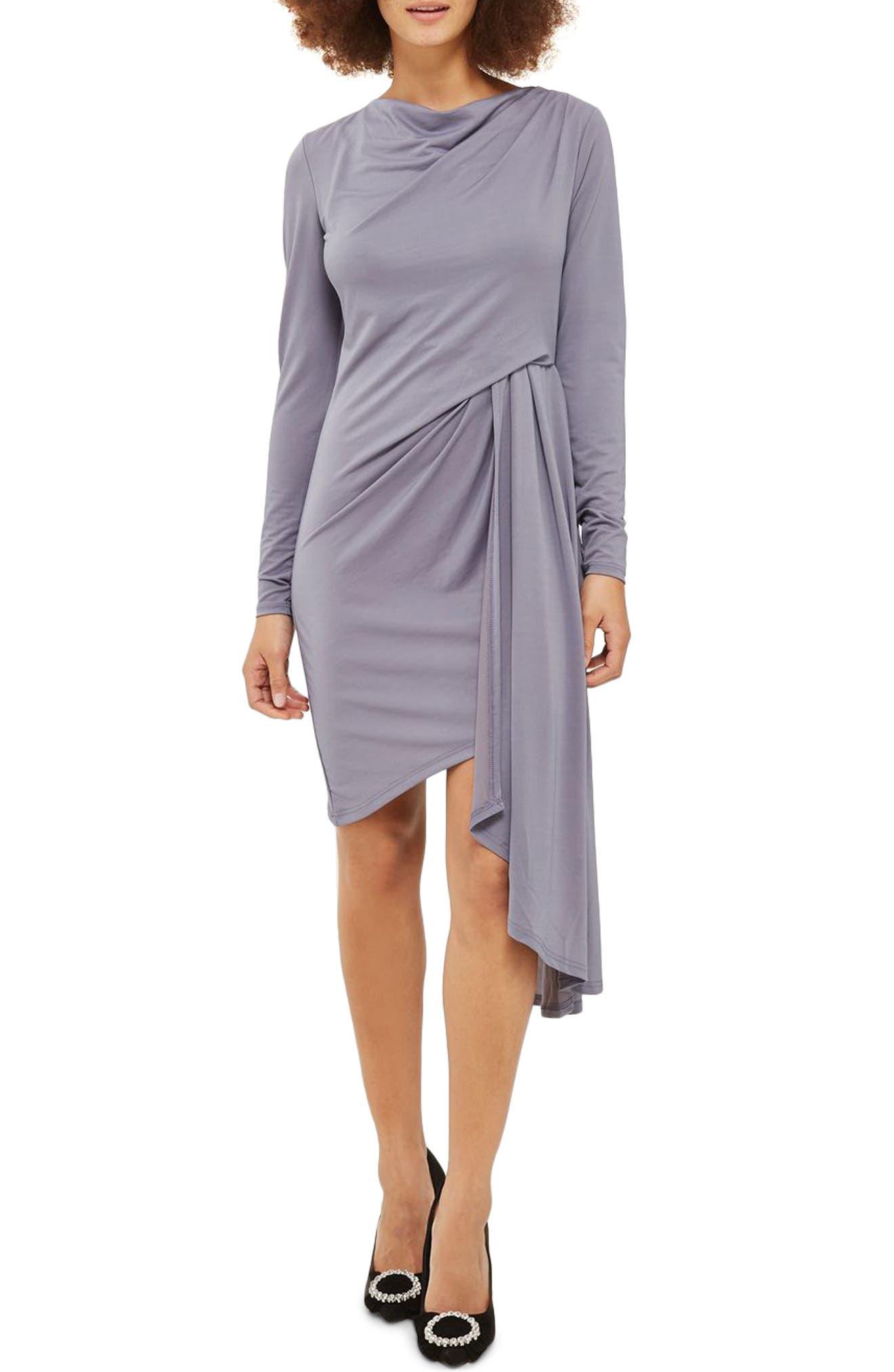 Topshop Asymmetrical Drape Crepe Dress