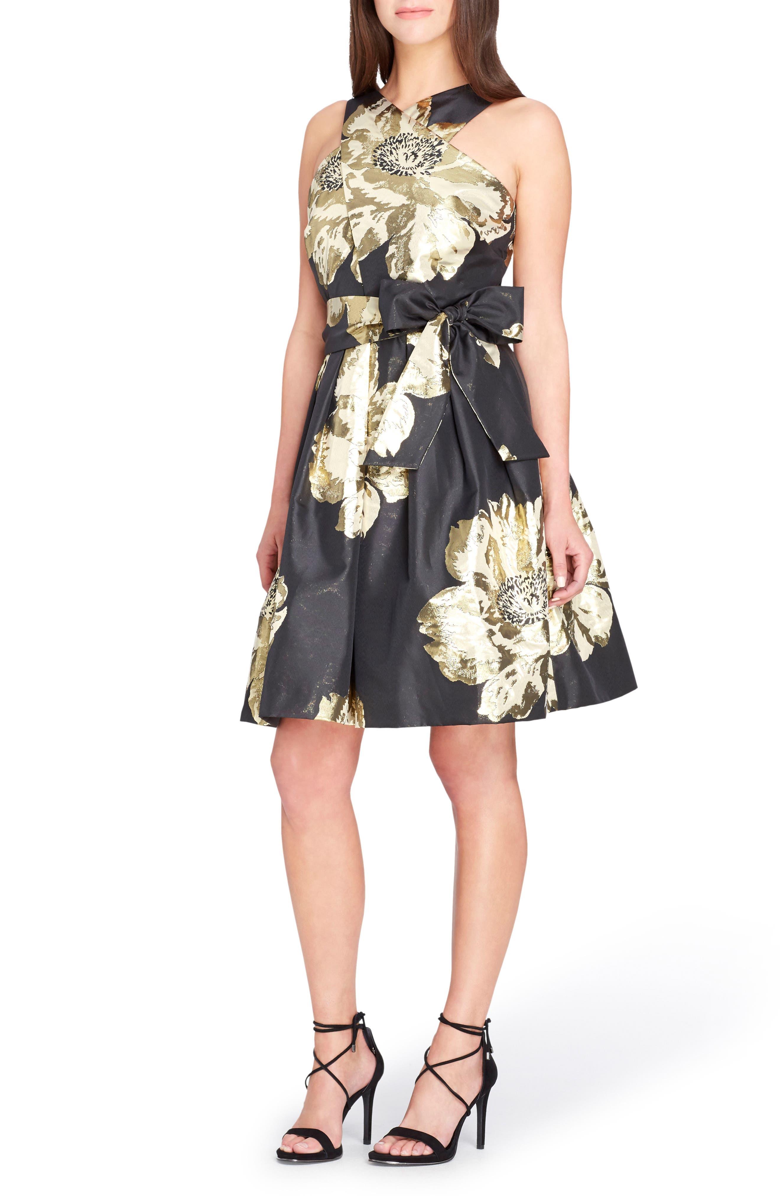 Jacquard Fit & Flare Dress,                         Main,                         color, Black/ Gold