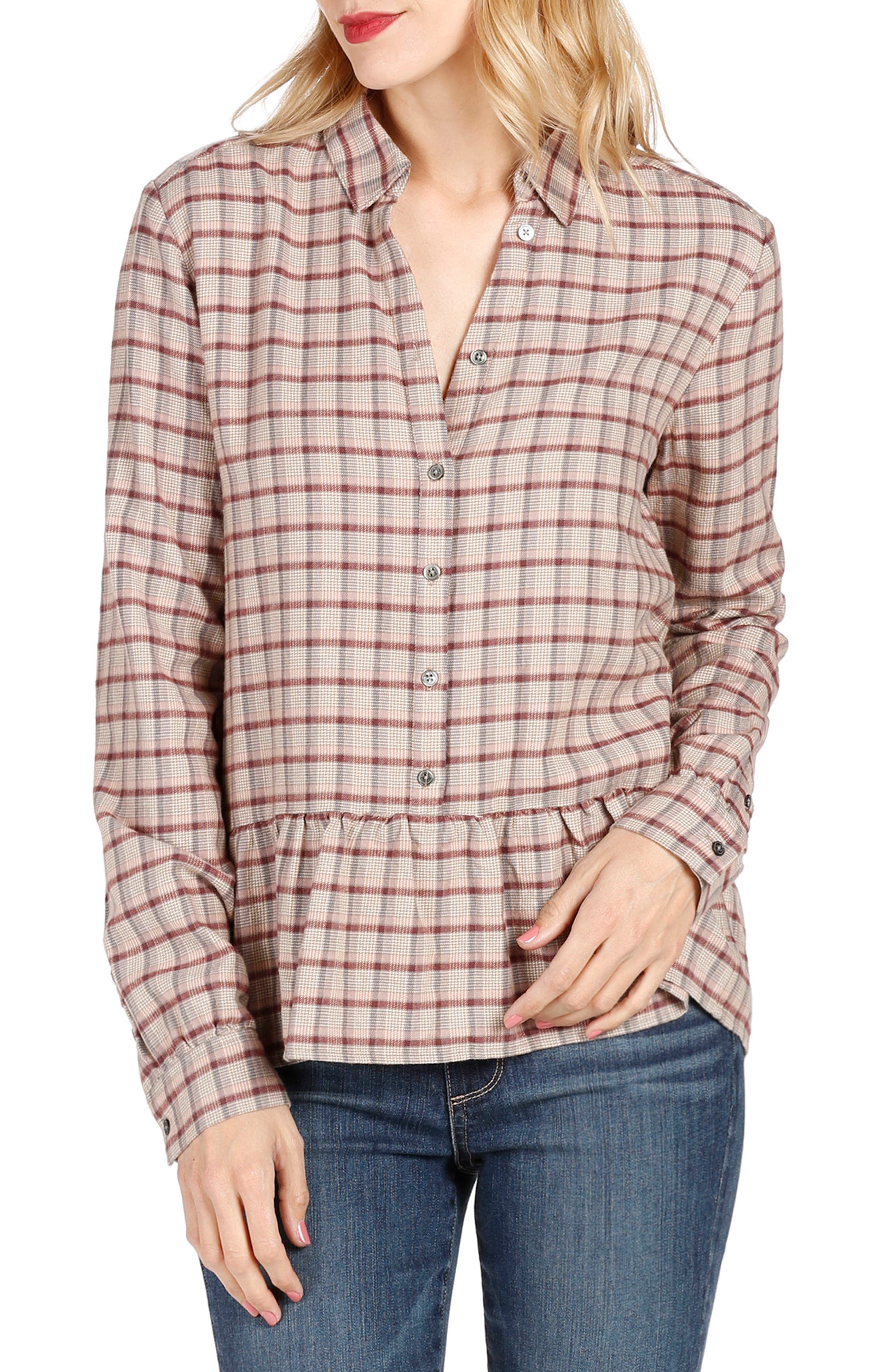 PAIGE Merrigan Plaid Peplum Top