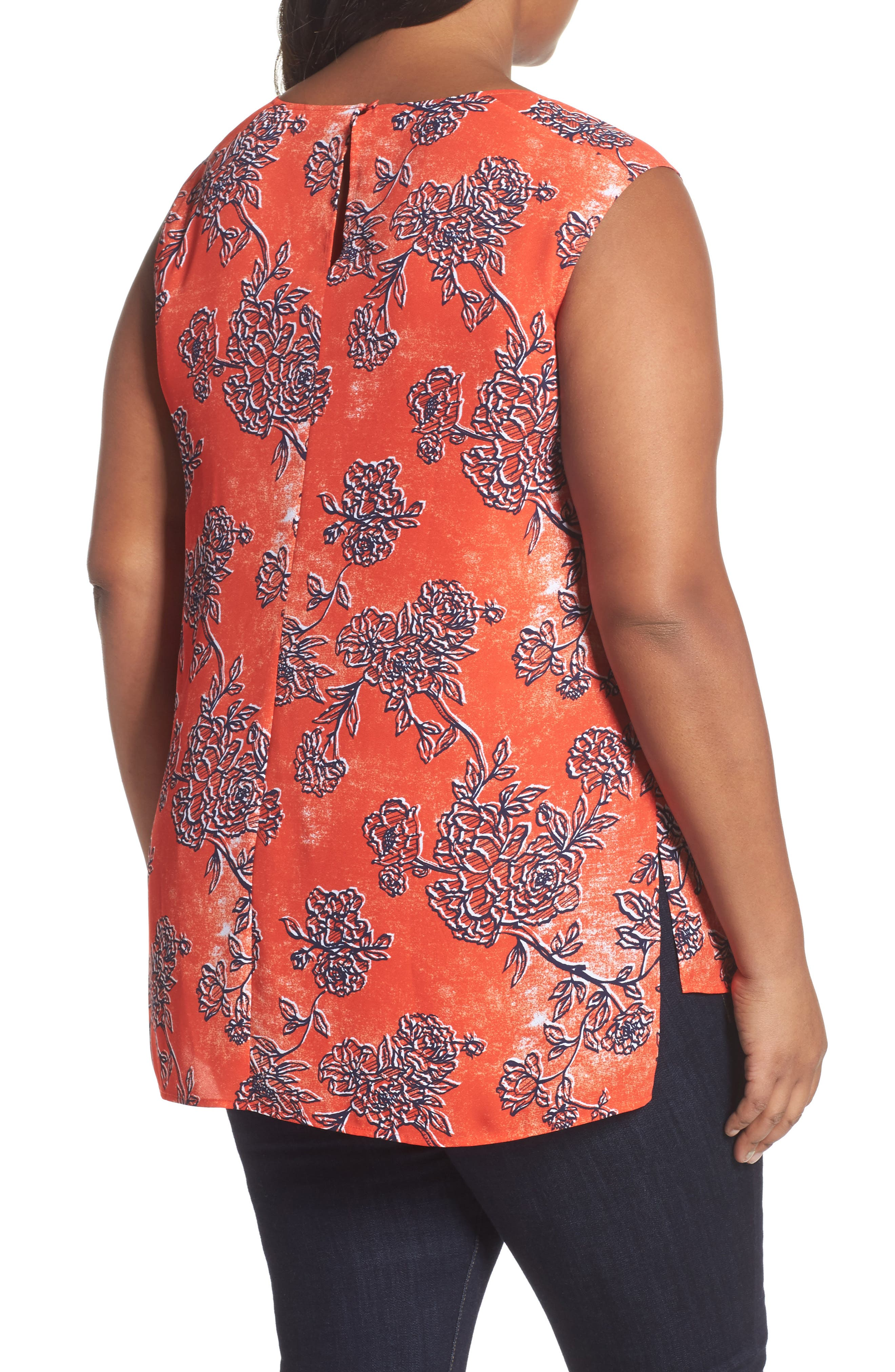 Pintuck Tank,                             Alternate thumbnail 2, color,                             Red Fiery Floral Print