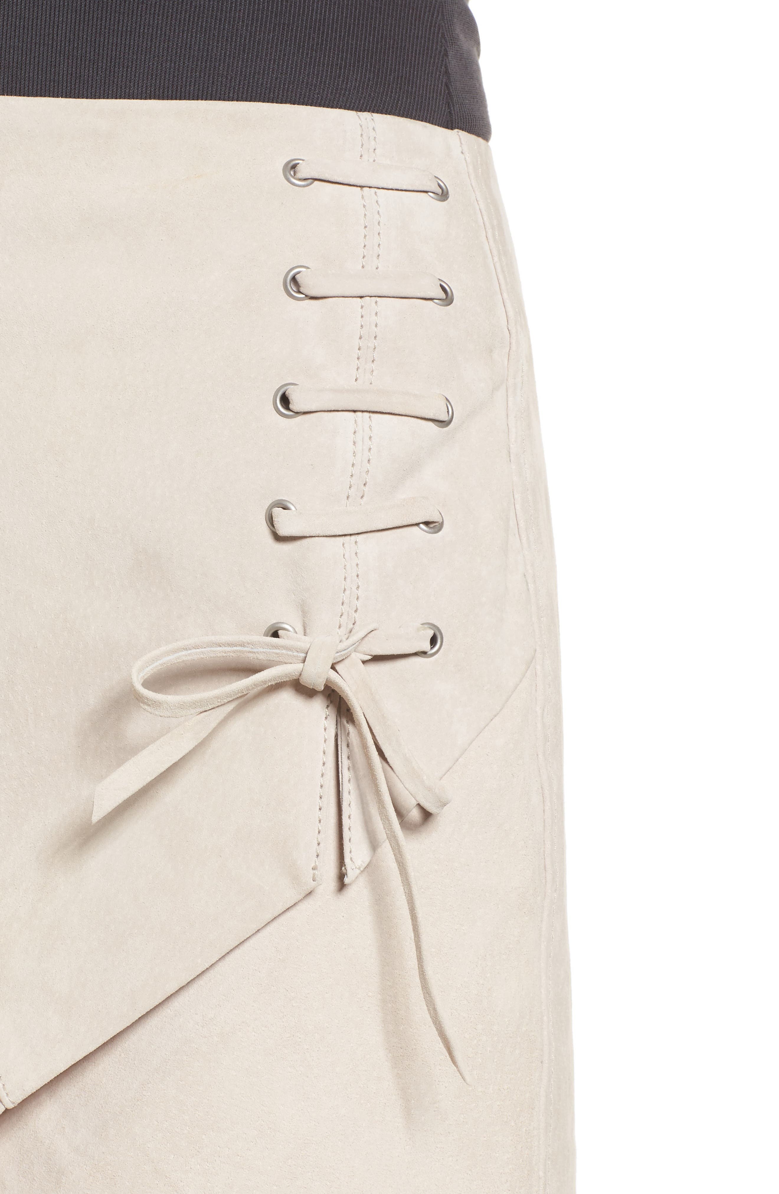 Alternate Image 4  - BLANKNYC Lace-Up Suede Miniskirt