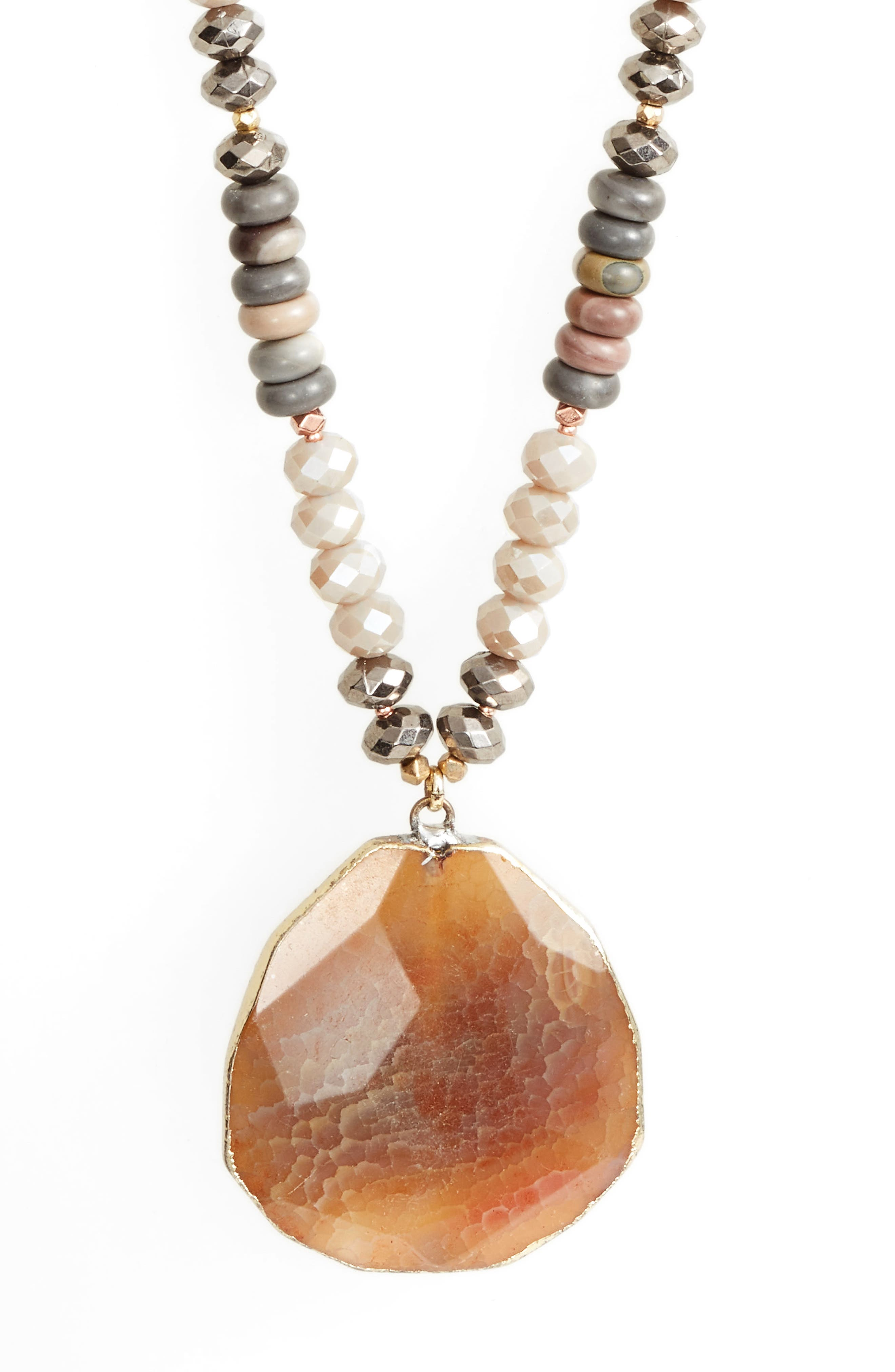 Long Agate Pendant Necklace,                             Alternate thumbnail 2, color,                             Nude