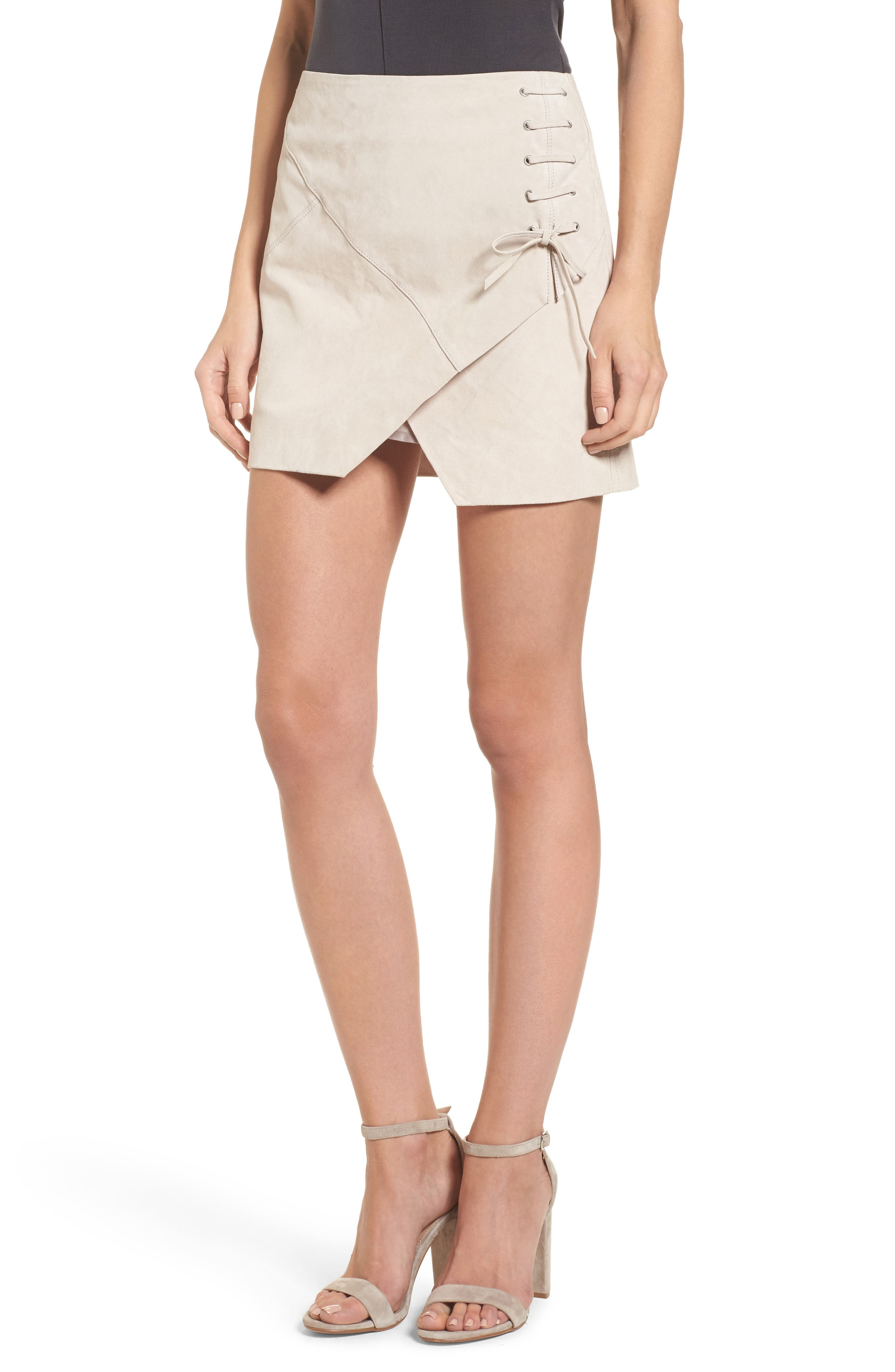 Alternate Image 1 Selected - BLANKNYC Lace-Up Suede Miniskirt