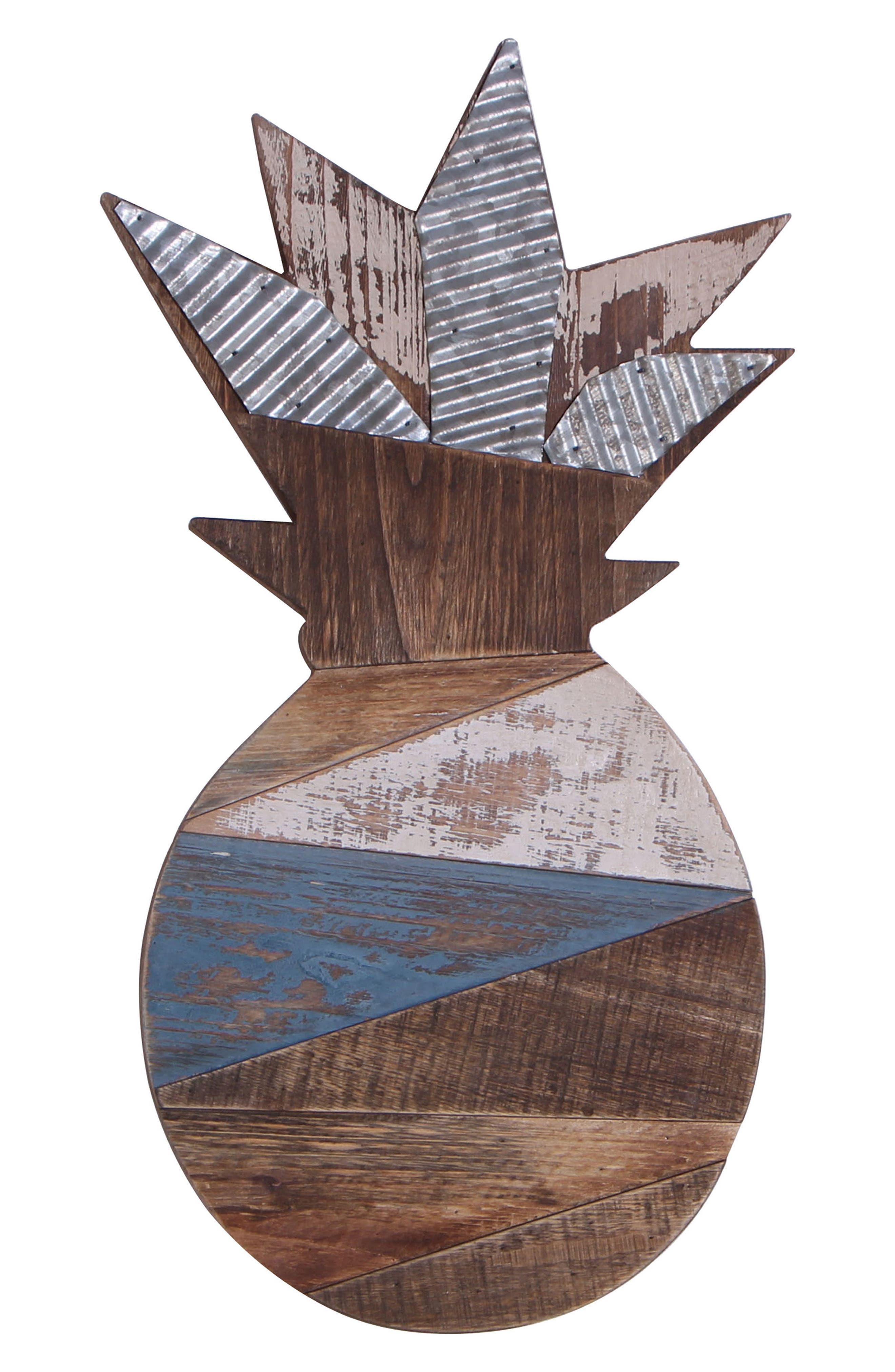 Alternate Image 1 Selected - Crystal Art Gallery Wood & Metal Pineapple Wall Art