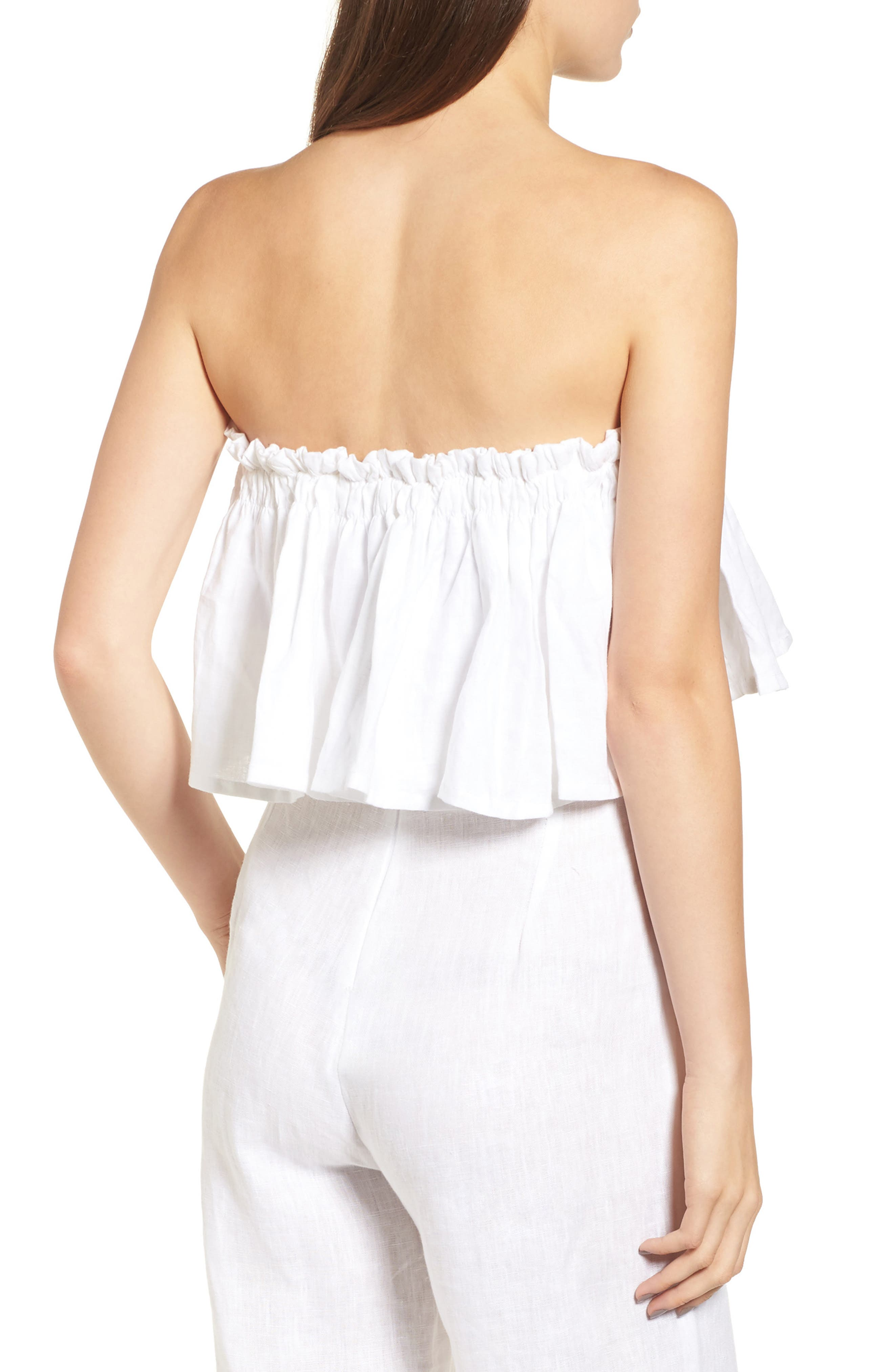 Alternate Image 2  - FAITHFULL THE BRAND Pietro Cinched Linen Crop Top