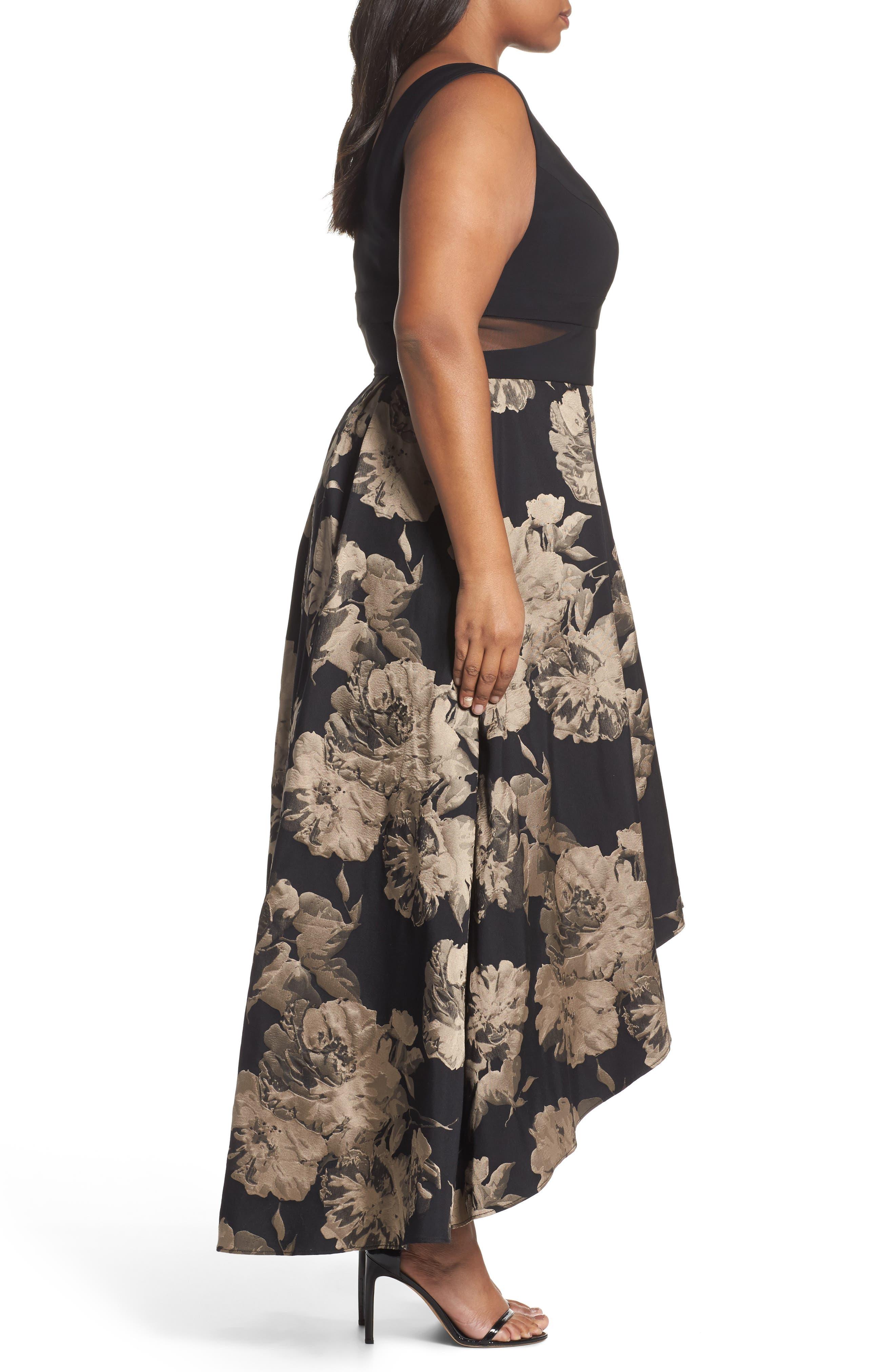 Mesh Waist High/Low Brocade Dress,                             Alternate thumbnail 3, color,                             Black/ Champagne