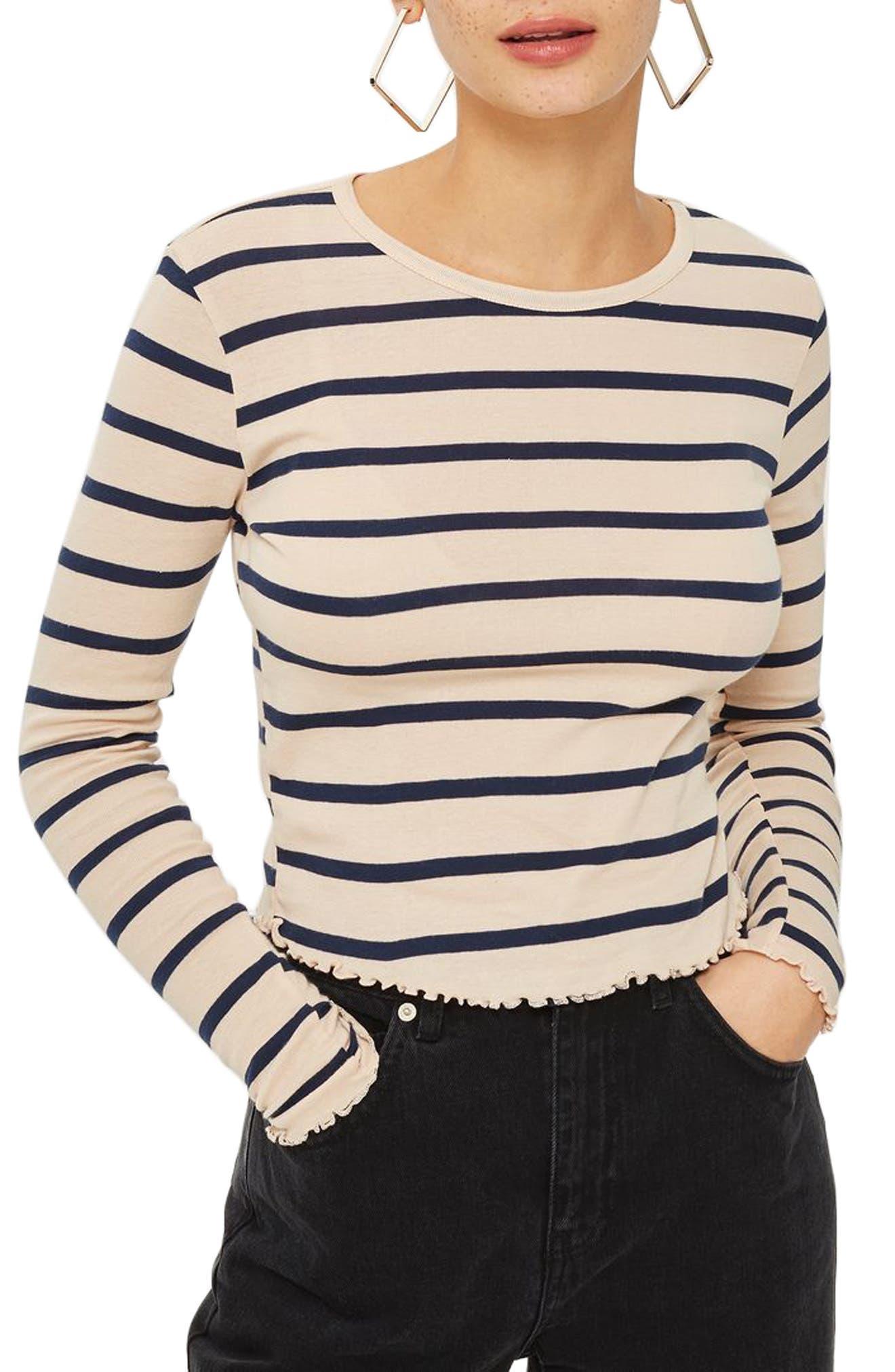 Petite Stripe Lettuce Trim T-Shirt,                         Main,                         color, Nude Multi