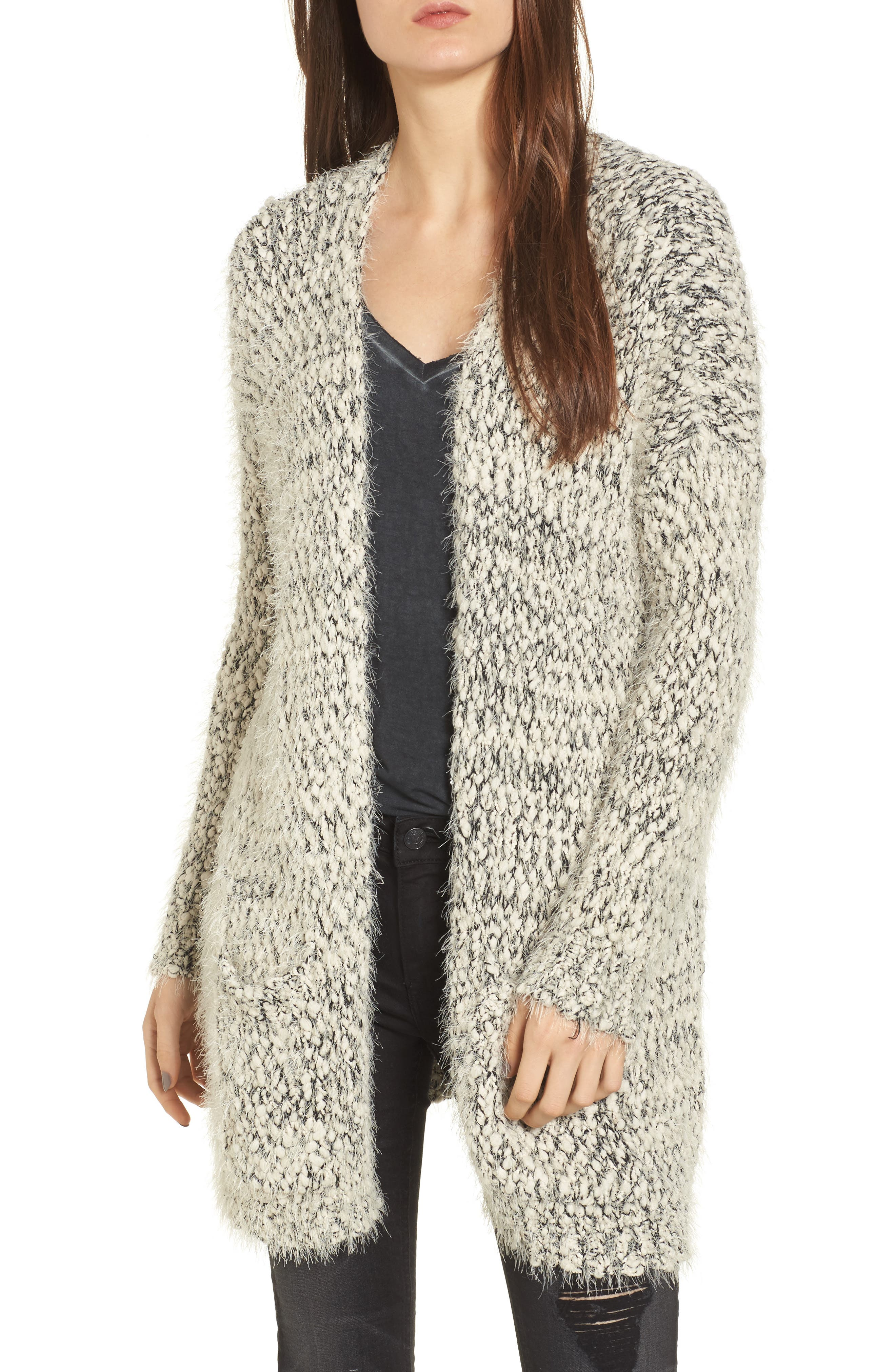 Textured Cardigan,                         Main,                         color, Ivory/ Black