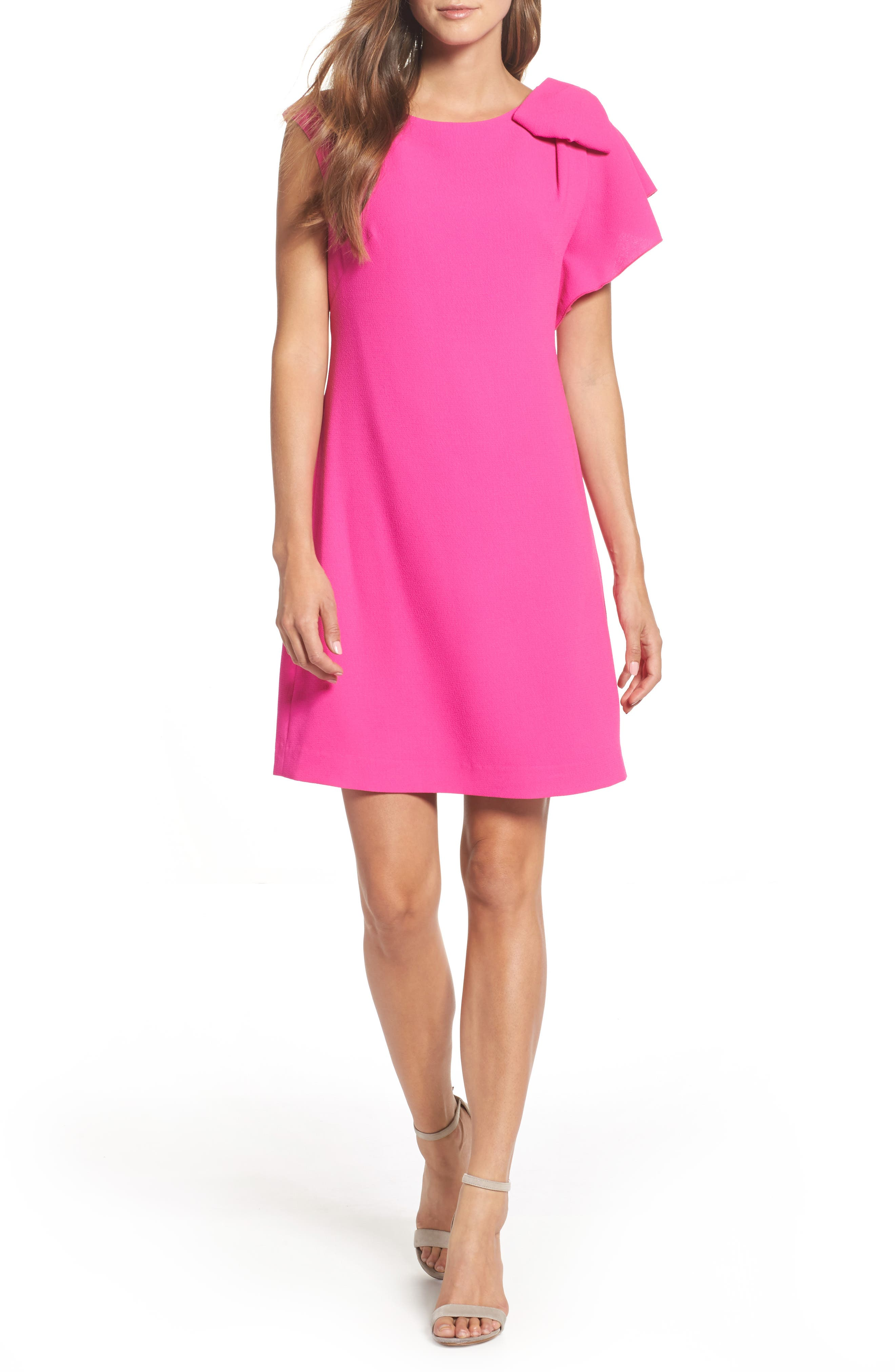 Ruffle Sleeve Shift Dress,                         Main,                         color, Pink