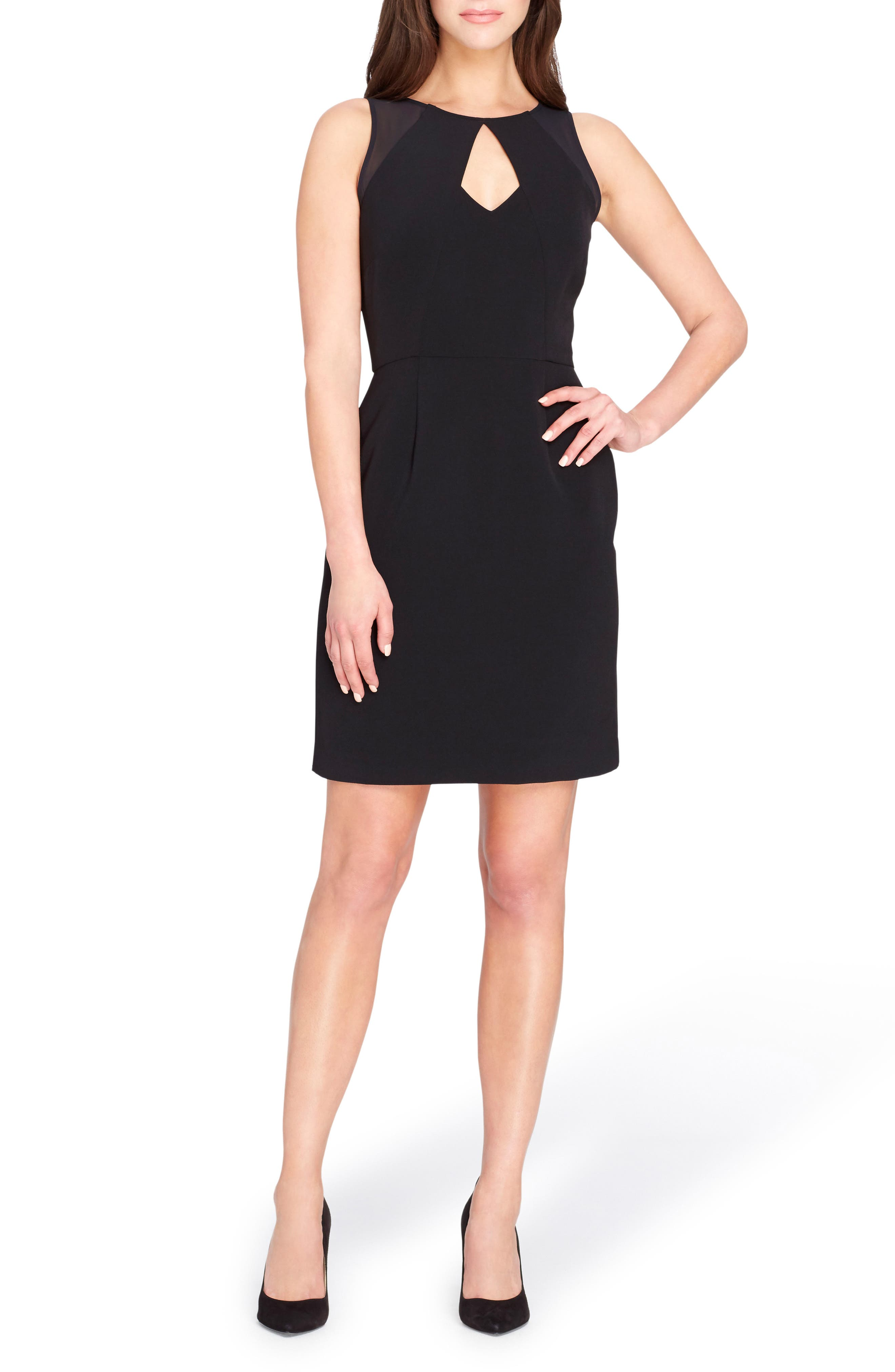 Keyhole Sheath Dress,                             Main thumbnail 1, color,                             Black
