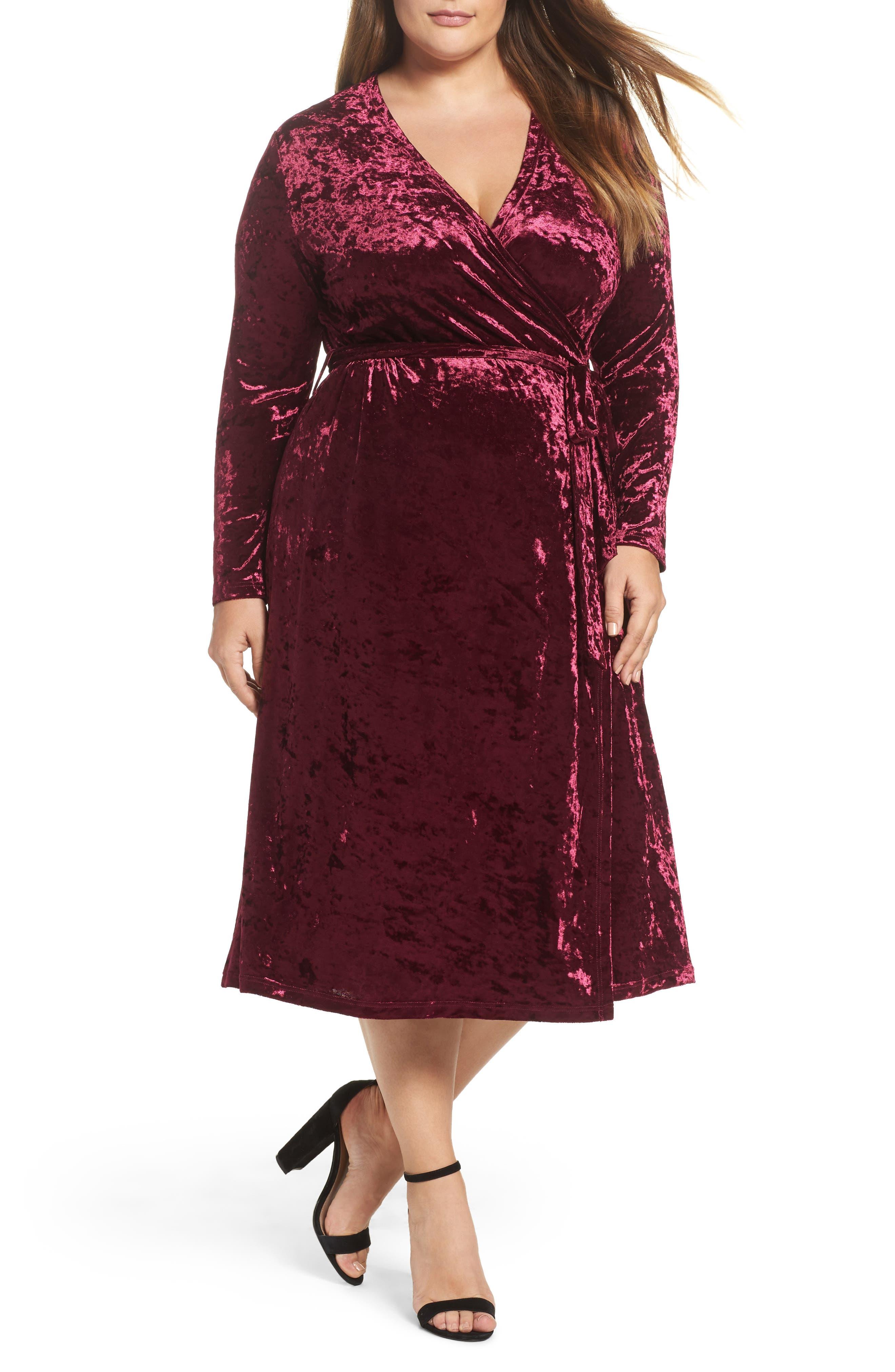 Velvet Midi Wrap Dress,                             Main thumbnail 1, color,                             Burgundy