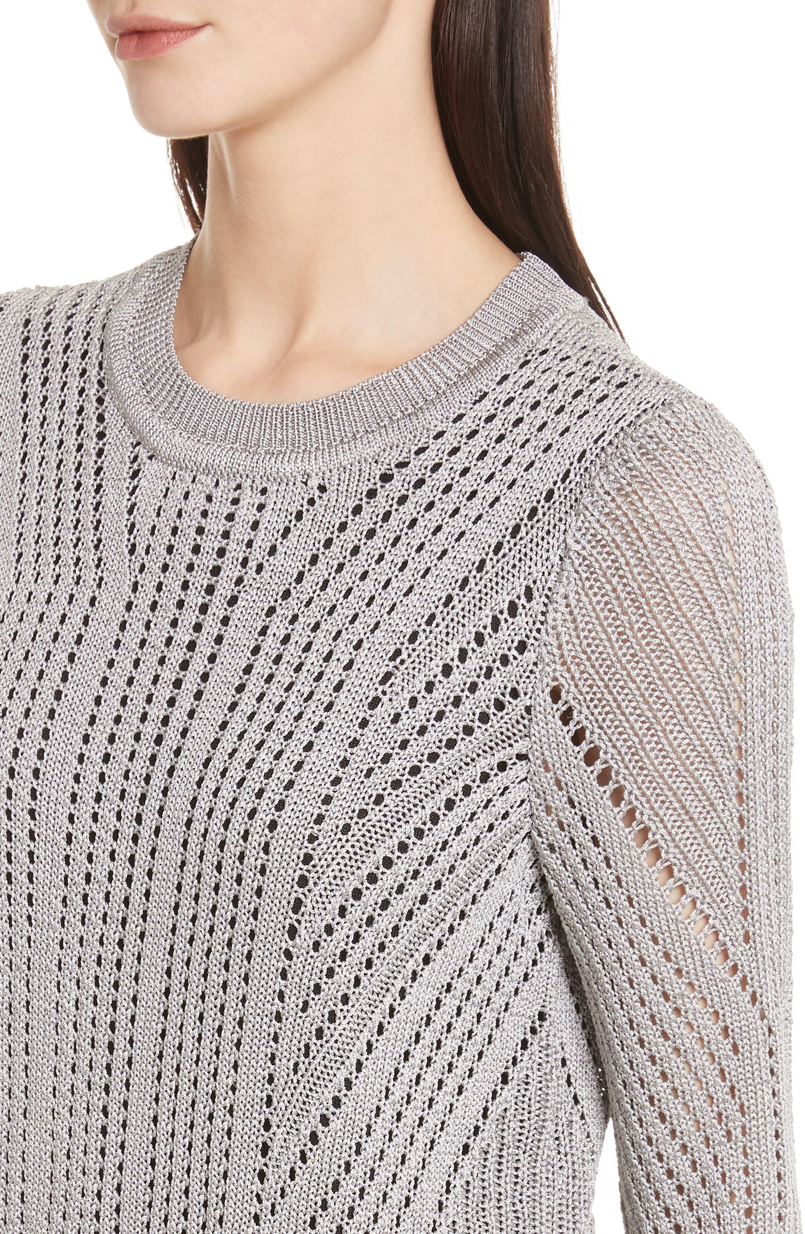 Pamela Crewneck Pointelle Sweater,                             Alternate thumbnail 4, color,                             Silver
