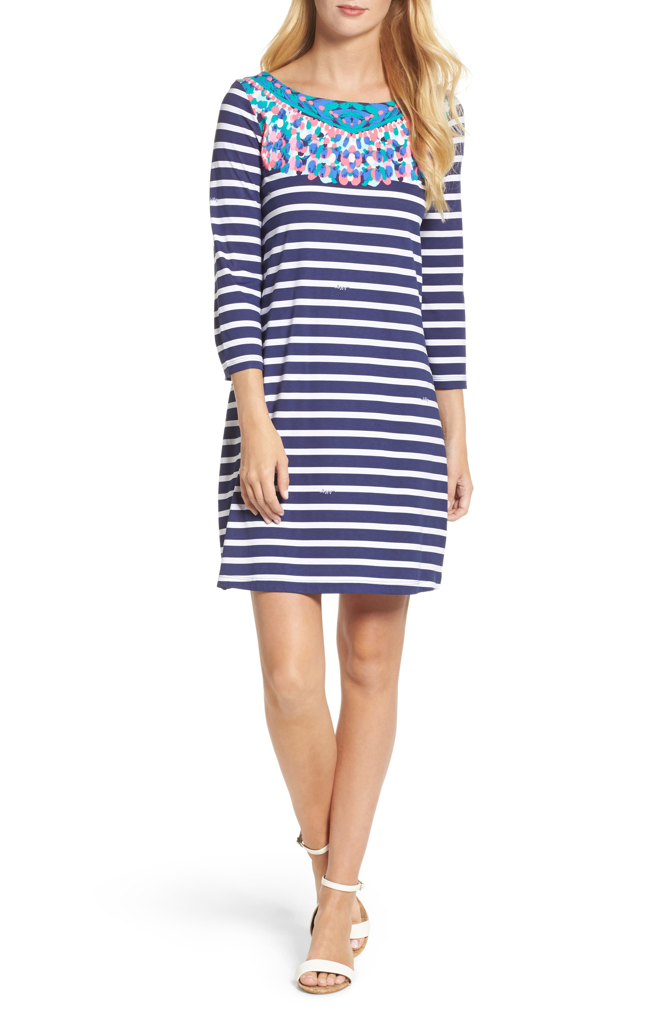 Bay Shift Dress,                         Main,                         color, Bright Navy Island Medallion